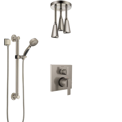Delta Ara Stainless Steel Finish Shower System with Control Handle, Integrated Diverter, Ceiling Mount Showerhead, and Grab Bar Hand Shower SS24867SS3