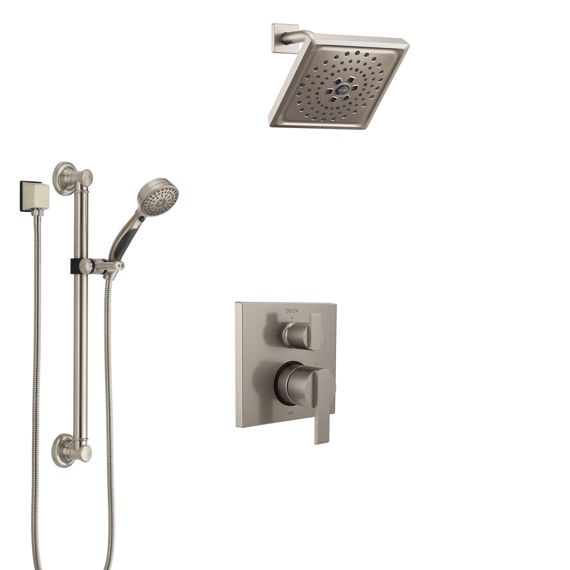 Delta Ara Stainless Steel Finish Shower System with Control Handle, Integrated Diverter, Showerhead, and Hand Shower with Grab Bar SS24867SS4