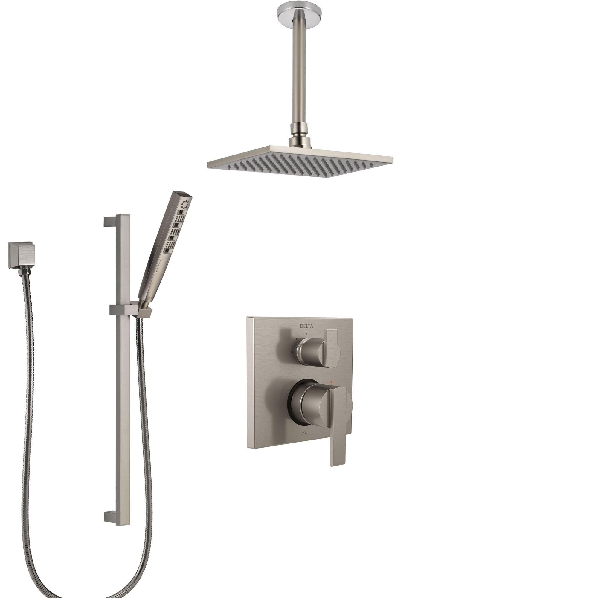 Delta Ara Stainless Steel Finish Shower System with Control Handle, Integrated Diverter, Ceiling Mount Showerhead, and Hand Shower SS24867SS7