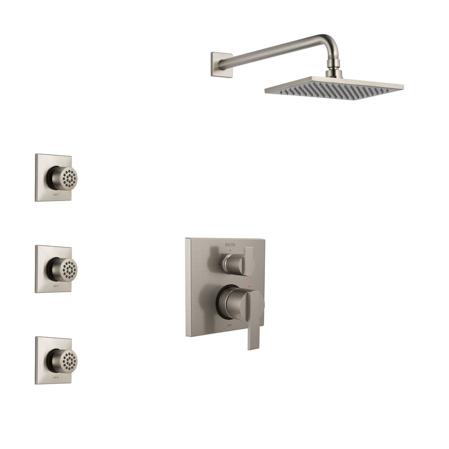 Delta Ara Stainless Steel Finish Shower System With Control Handle,  Integrated 3 Setting Diverter