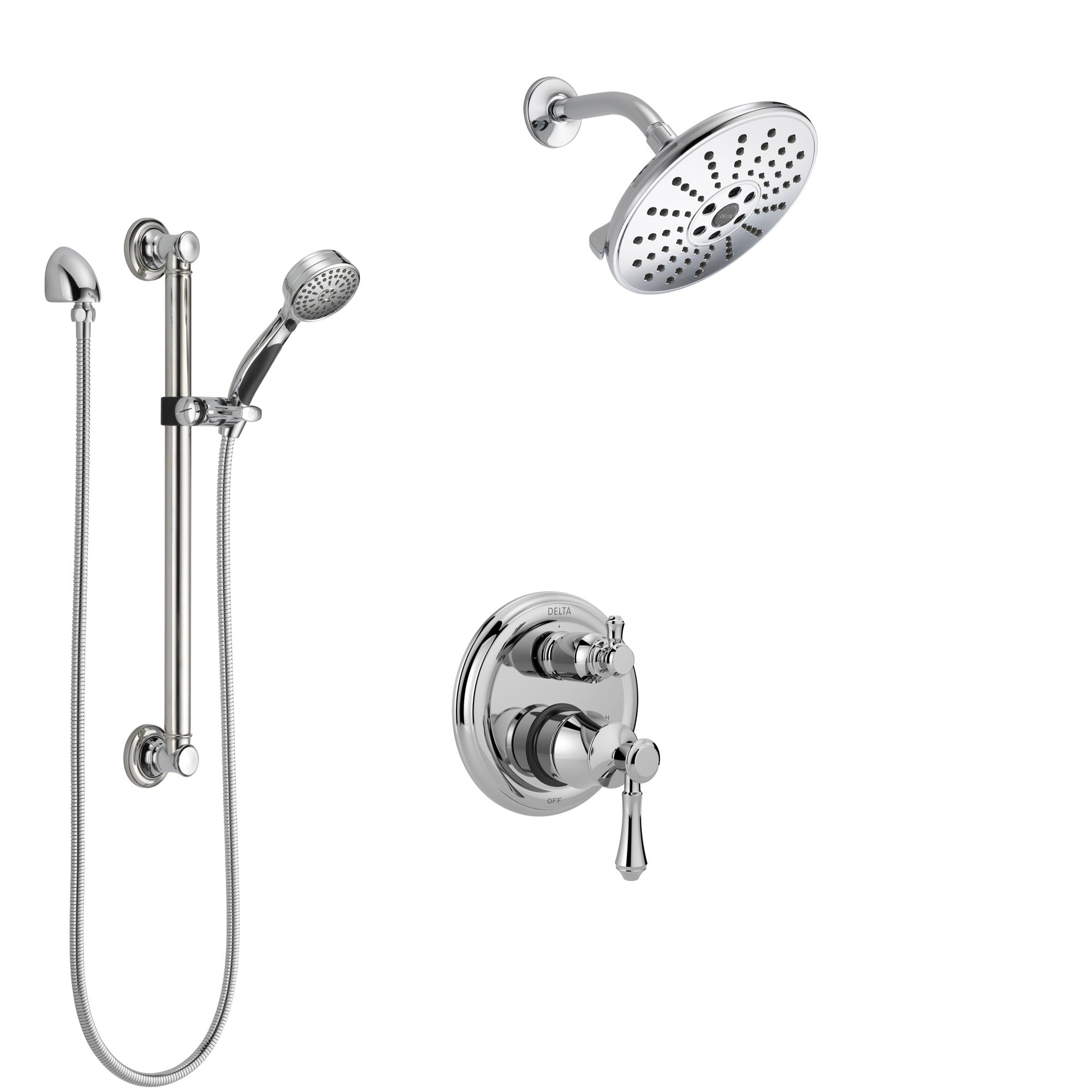 Delta Cassidy Chrome Finish Shower System with Control Handle, Integrated 3-Setting Diverter, Showerhead, and Hand Shower with Grab Bar SS248975
