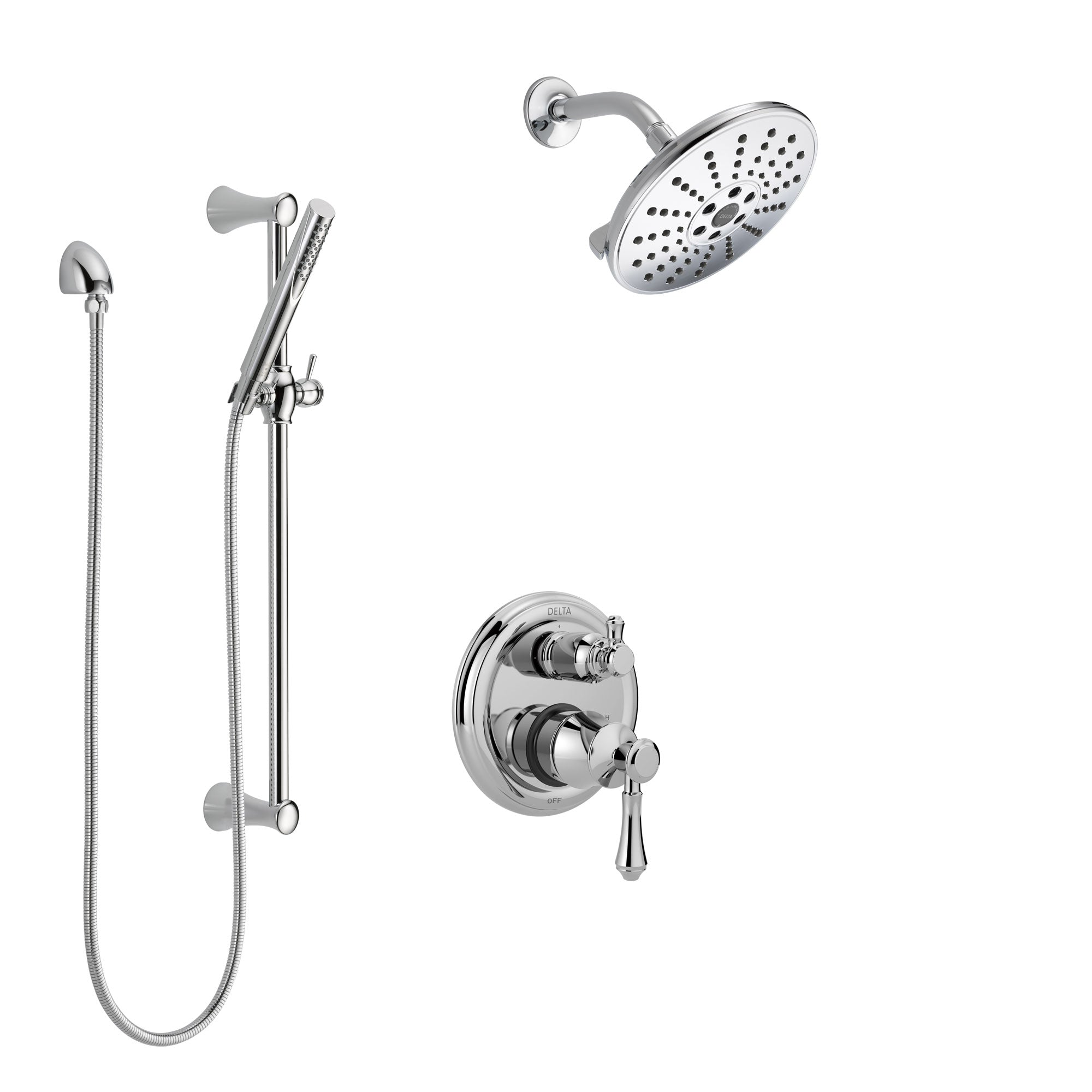 Delta Cassidy Chrome Finish Shower System with Control Handle, Integrated 3-Setting Diverter, Showerhead, and Hand Shower with Slidebar SS248976