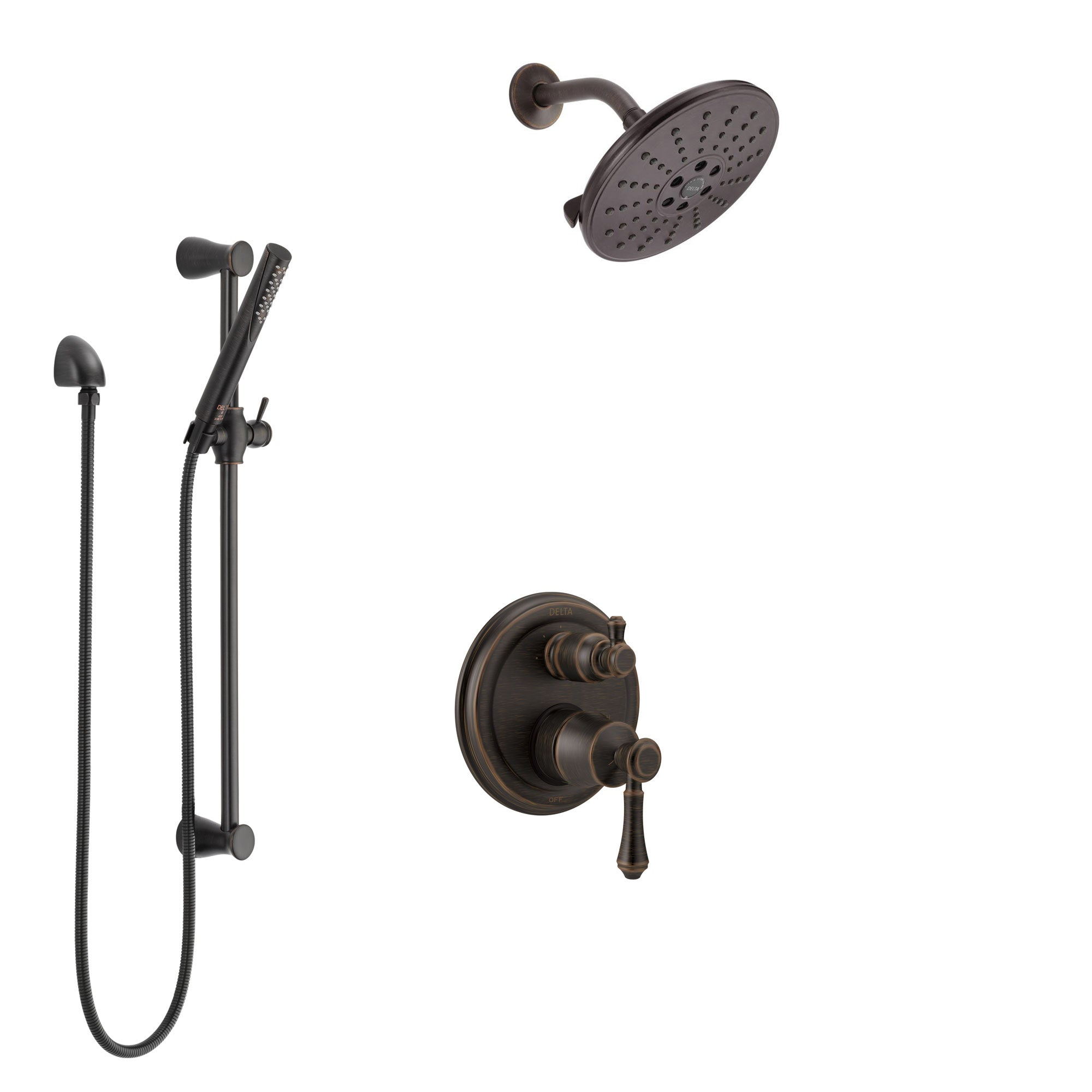Delta Cassidy Venetian Bronze Shower System with Control Handle, Integrated 3-Setting Diverter, Showerhead, and Hand Shower with Slidebar SS24897RB10