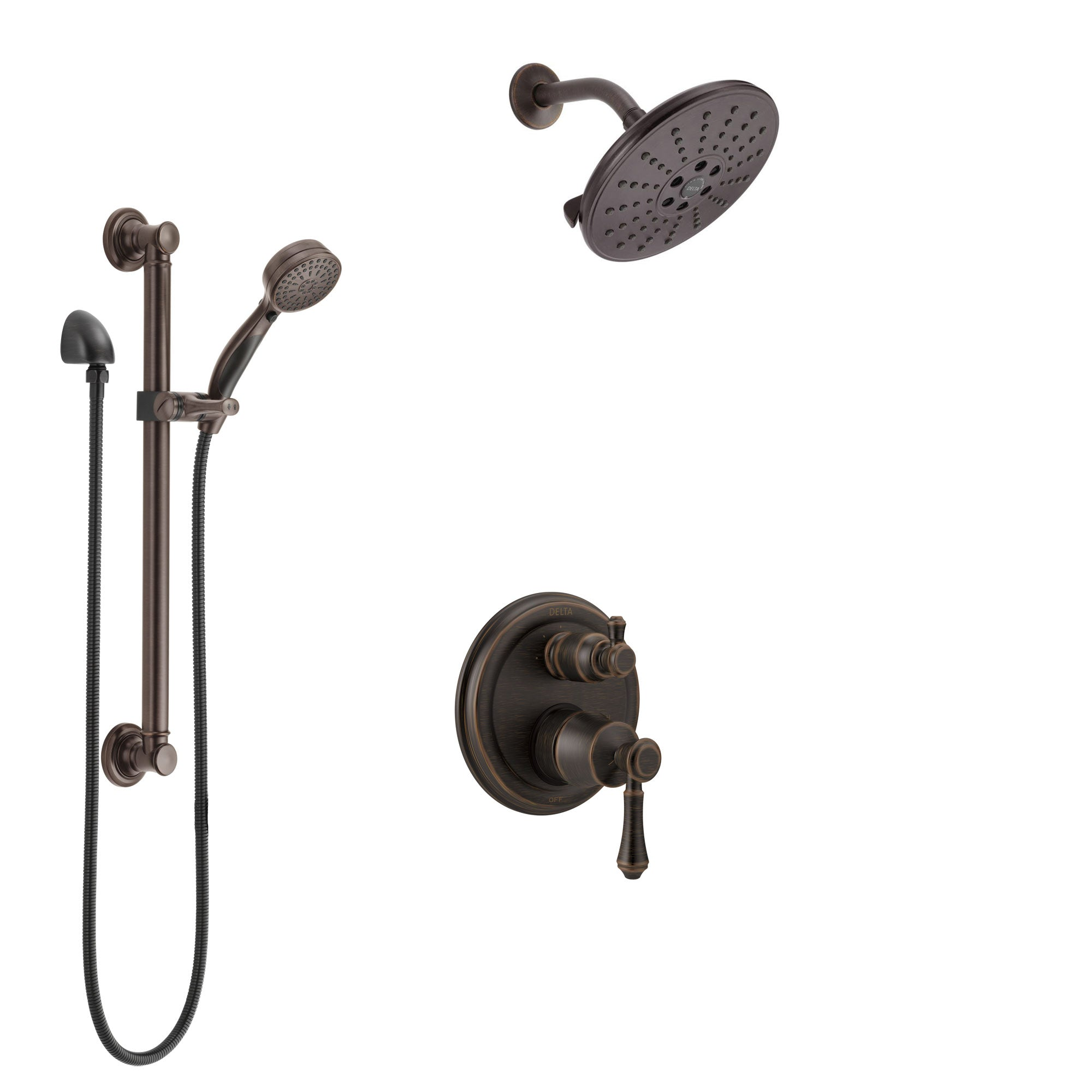 Delta Cassidy Venetian Bronze Shower System with Control Handle, Integrated 3-Setting Diverter, Showerhead, and Hand Shower with Grab Bar SS24897RB11