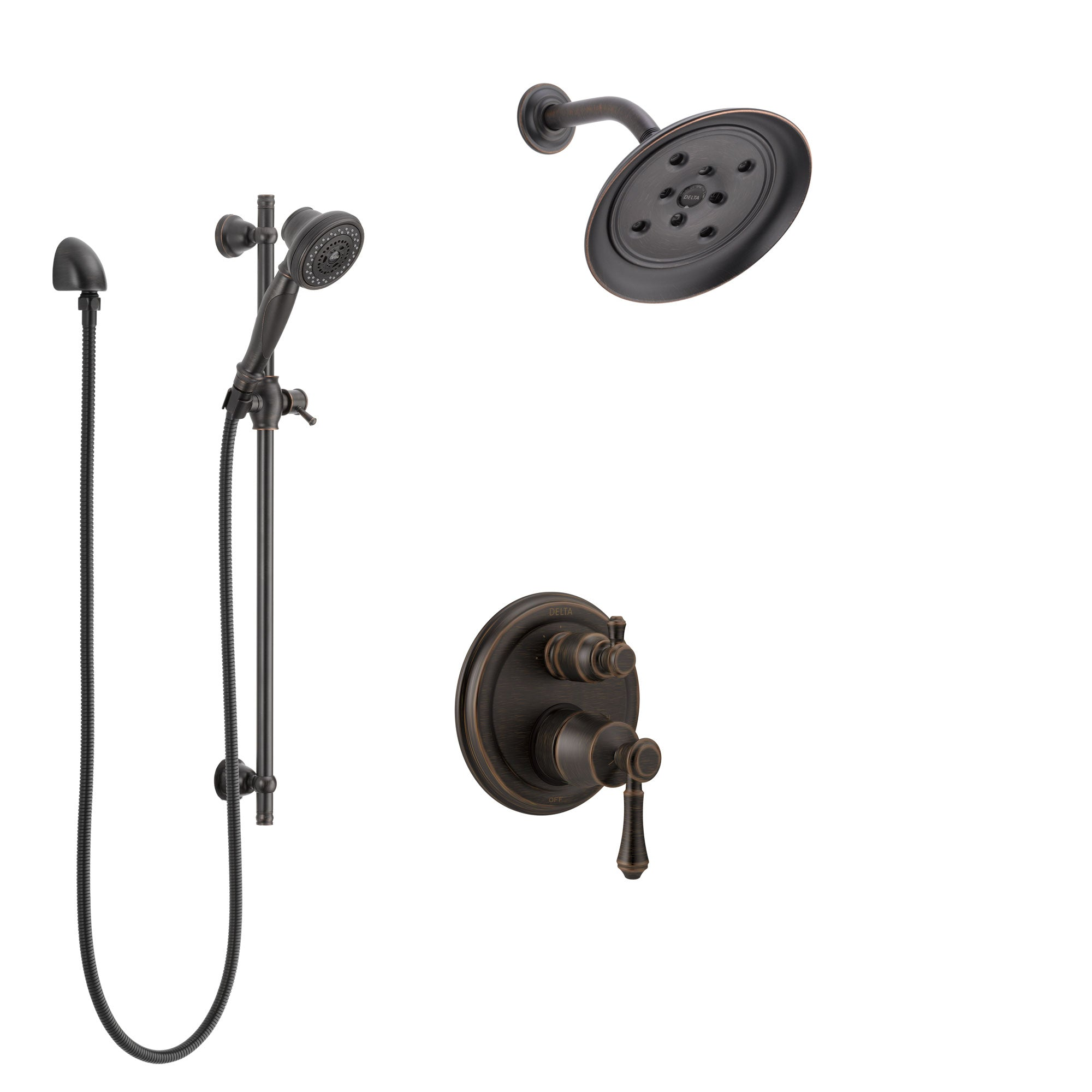 Delta Cassidy Venetian Bronze Shower System with Control Handle, Integrated 3-Setting Diverter, Showerhead, and Hand Shower with Slidebar SS24897RB1