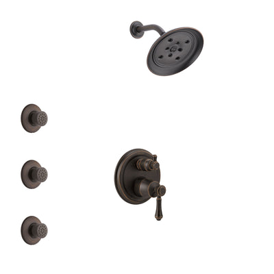 Delta Cassidy Venetian Bronze Finish Shower System with Control Handle, Integrated 3-Setting Diverter, Showerhead, and 3 Body Sprays SS24897RB3