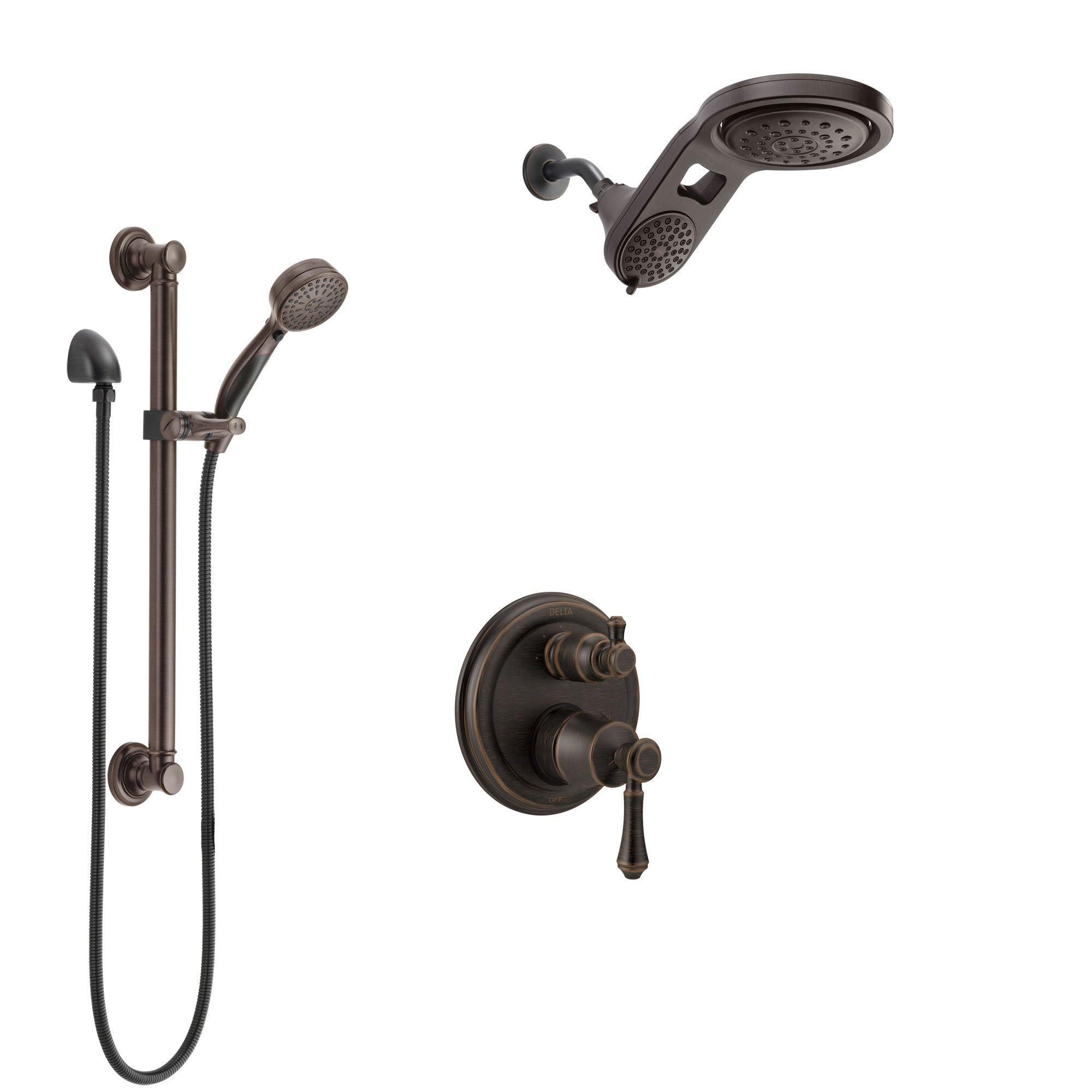 Delta Cassidy Venetian Bronze Shower System with Control Handle, Integrated Diverter, Dual Showerhead, and Hand Shower with Grab Bar SS24897RB5