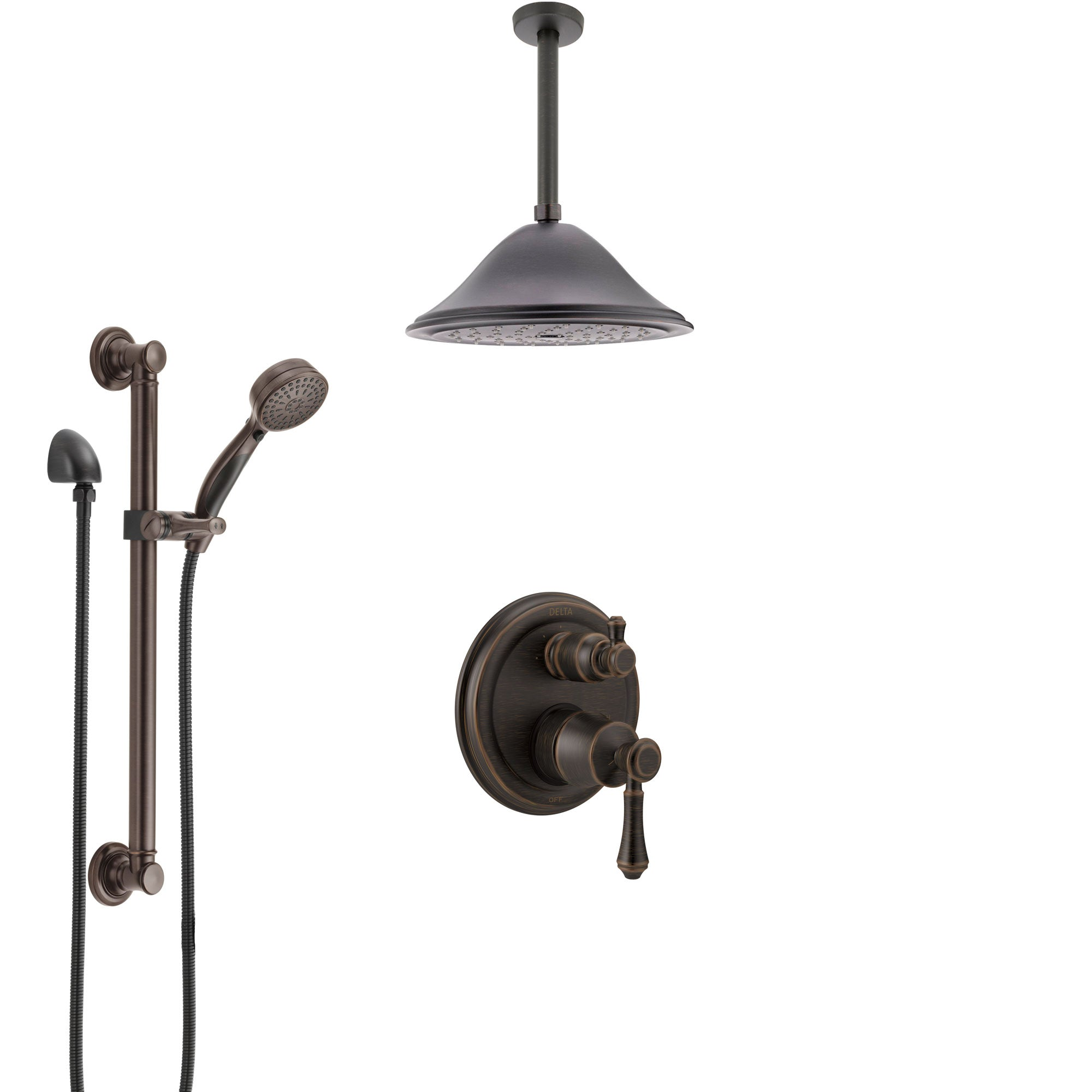 delta cassidy venetian bronze shower system with control handle