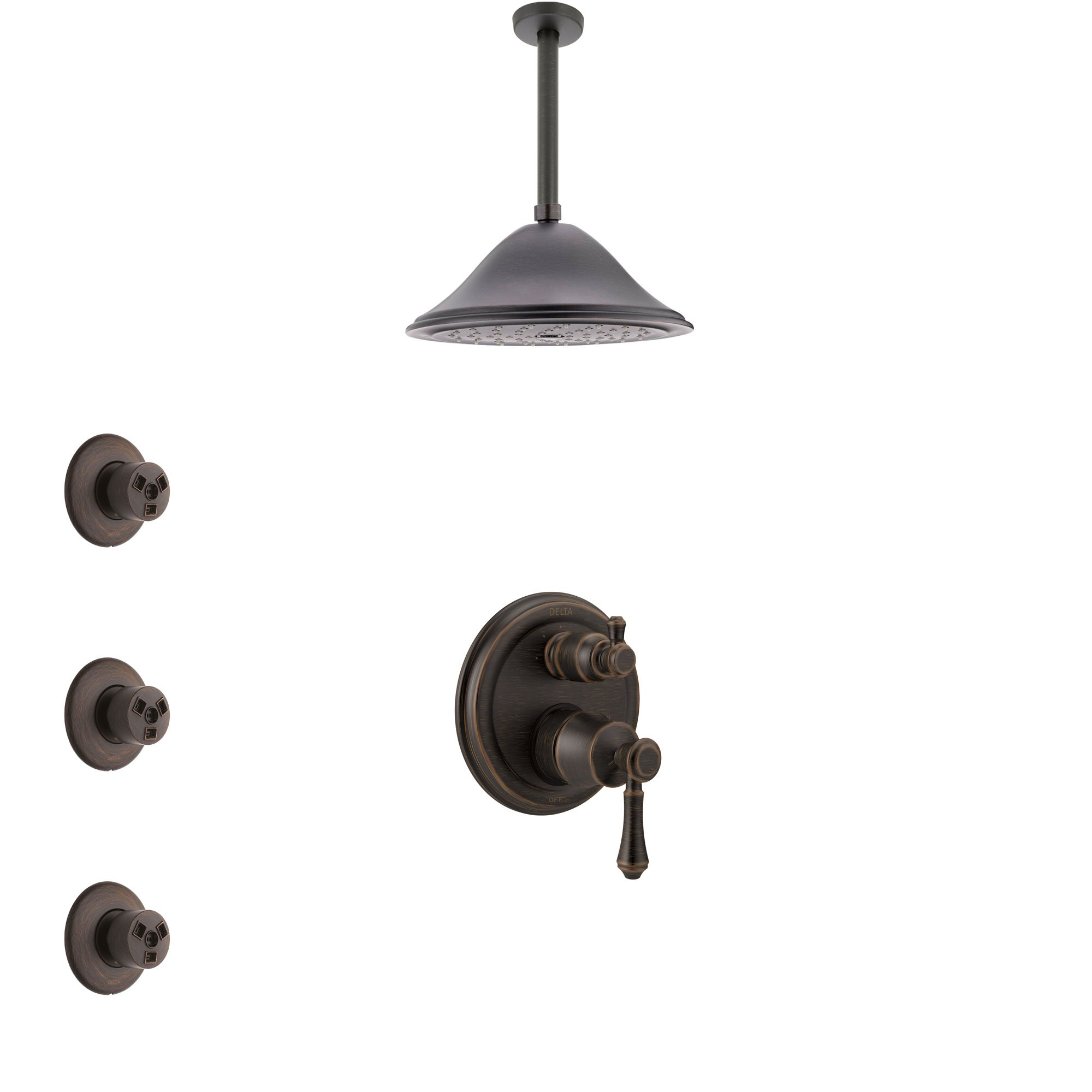 Delta Cassidy Venetian Bronze Shower System with Control Handle, Integrated 3-Setting Diverter, Ceiling Mount Showerhead, and 3 Body Sprays SS24897RB9
