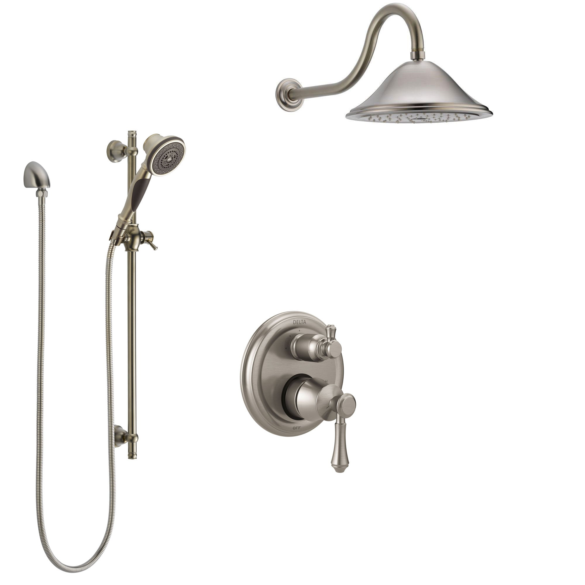 Delta Cassidy Stainless Steel Finish Shower System with Control Handle, Integrated Diverter, Showerhead, and Hand Shower with Slidebar SS24897SS2
