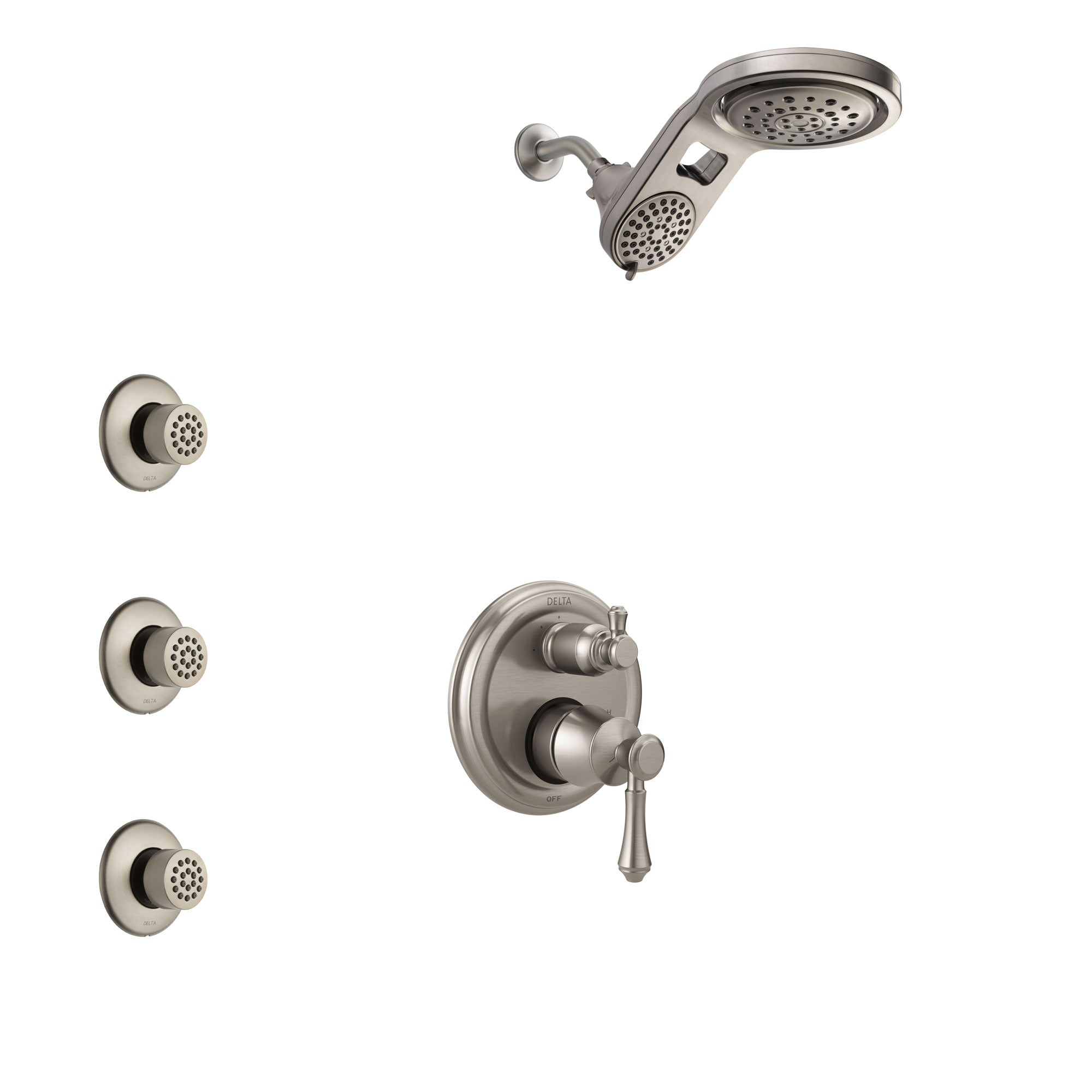 Delta Cassidy Stainless Steel Finish Shower System with Control Handle, Integrated 3-Setting Diverter, Dual Showerhead, and 3 Body Sprays SS24897SS4