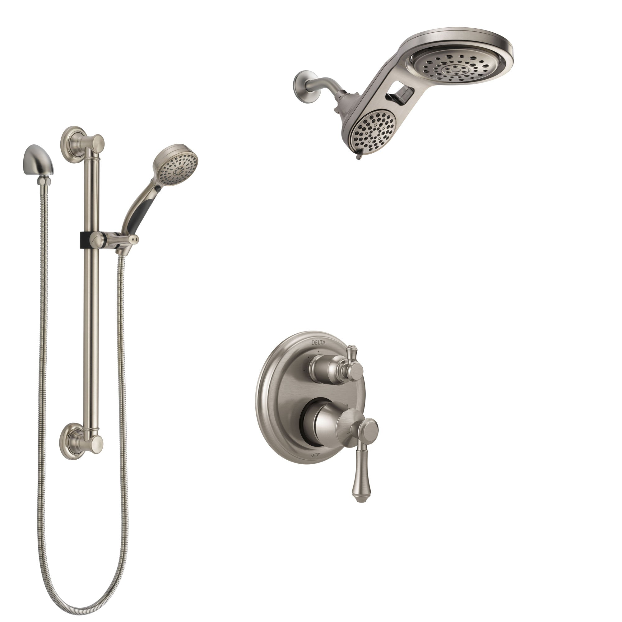 Delta Cassidy Stainless Steel Finish Shower System with Control Handle, Integrated Diverter, Dual Showerhead, and Hand Shower with Grab Bar SS24897SS5
