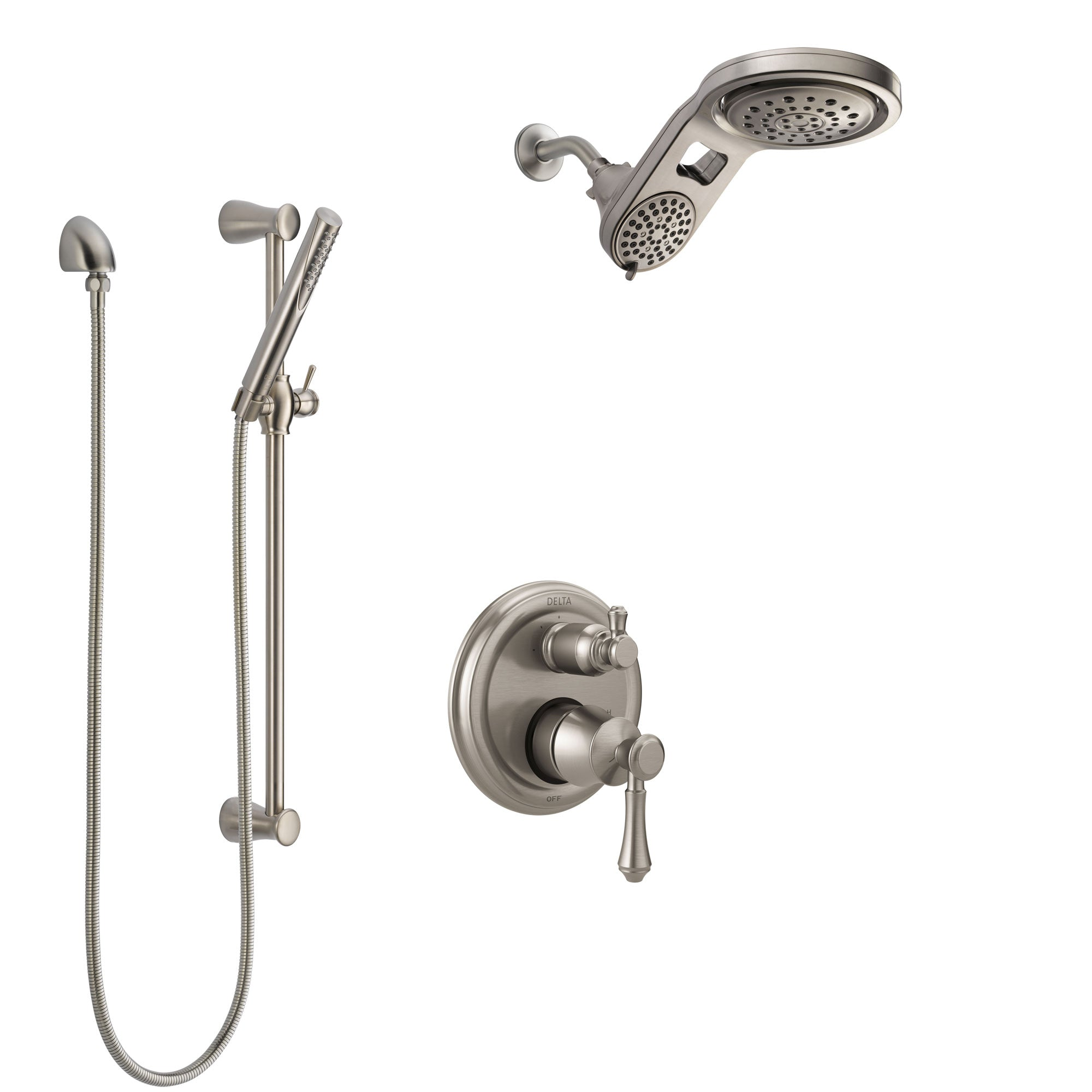 Delta Cassidy Stainless Steel Finish Shower System with Control Handle, Integrated Diverter, Dual Showerhead, and Hand Shower with Slidebar SS24897SS6