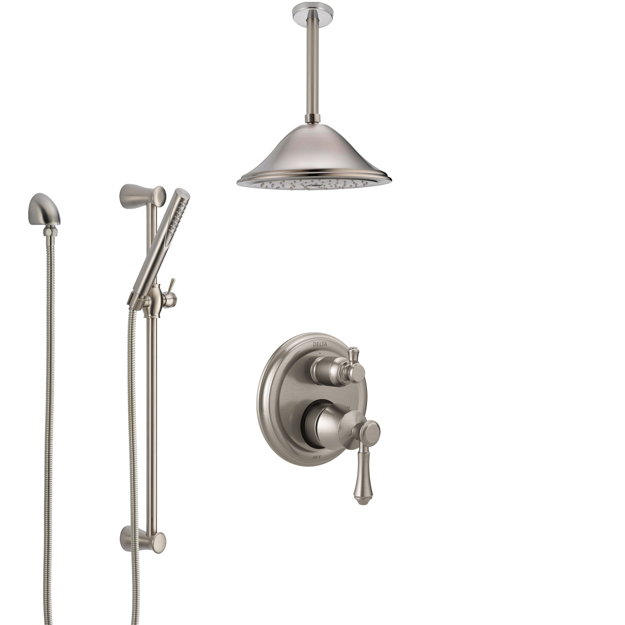 Delta Cassidy Stainless Steel Finish Shower System with Control Handle, Integrated Diverter, Ceiling Mount Showerhead, and Hand Shower SS24897SS7