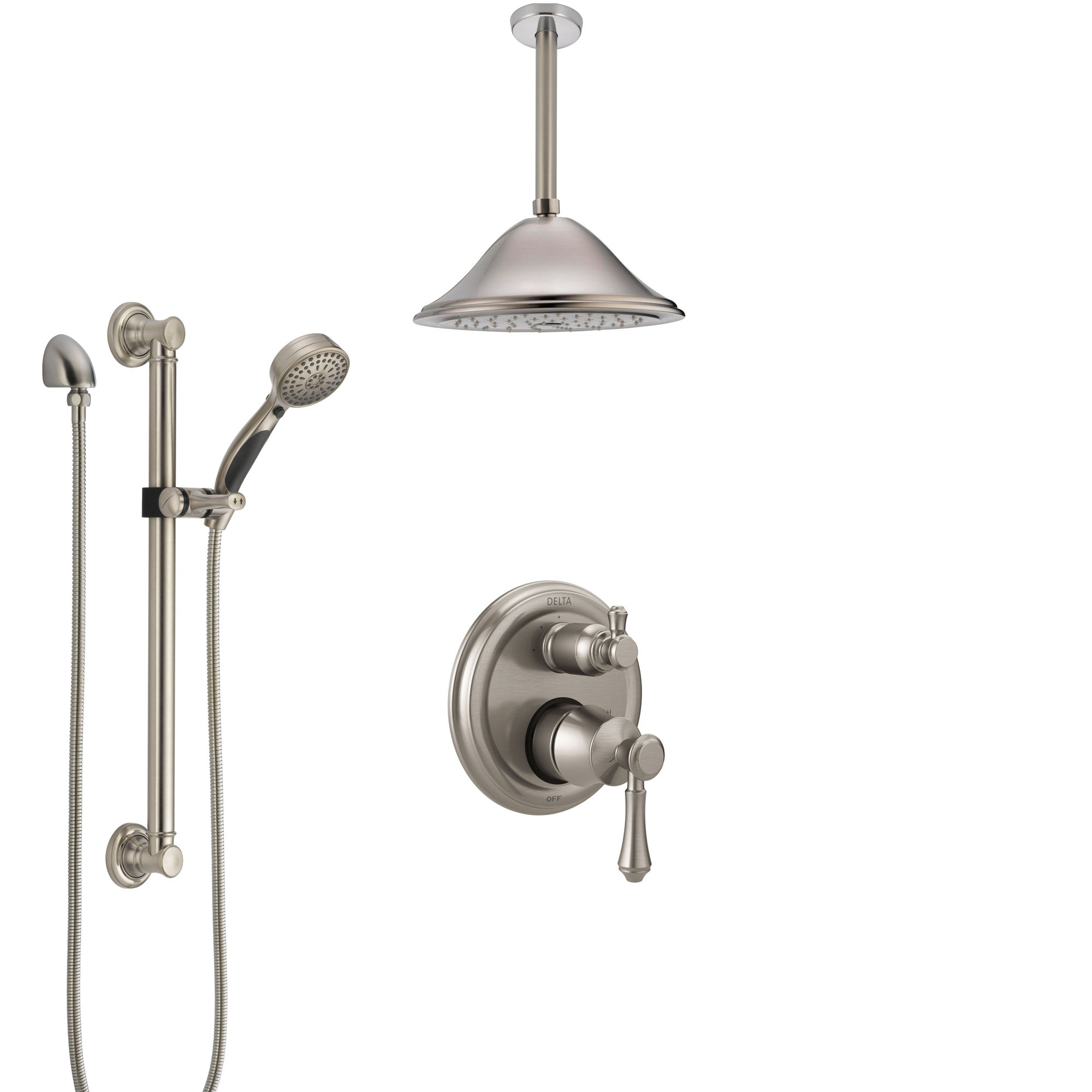 Delta Cassidy Stainless Steel Finish Shower System with Control Handle, Integrated Diverter, Ceiling Showerhead, and Grab Bar Hand Shower SS24897SS8