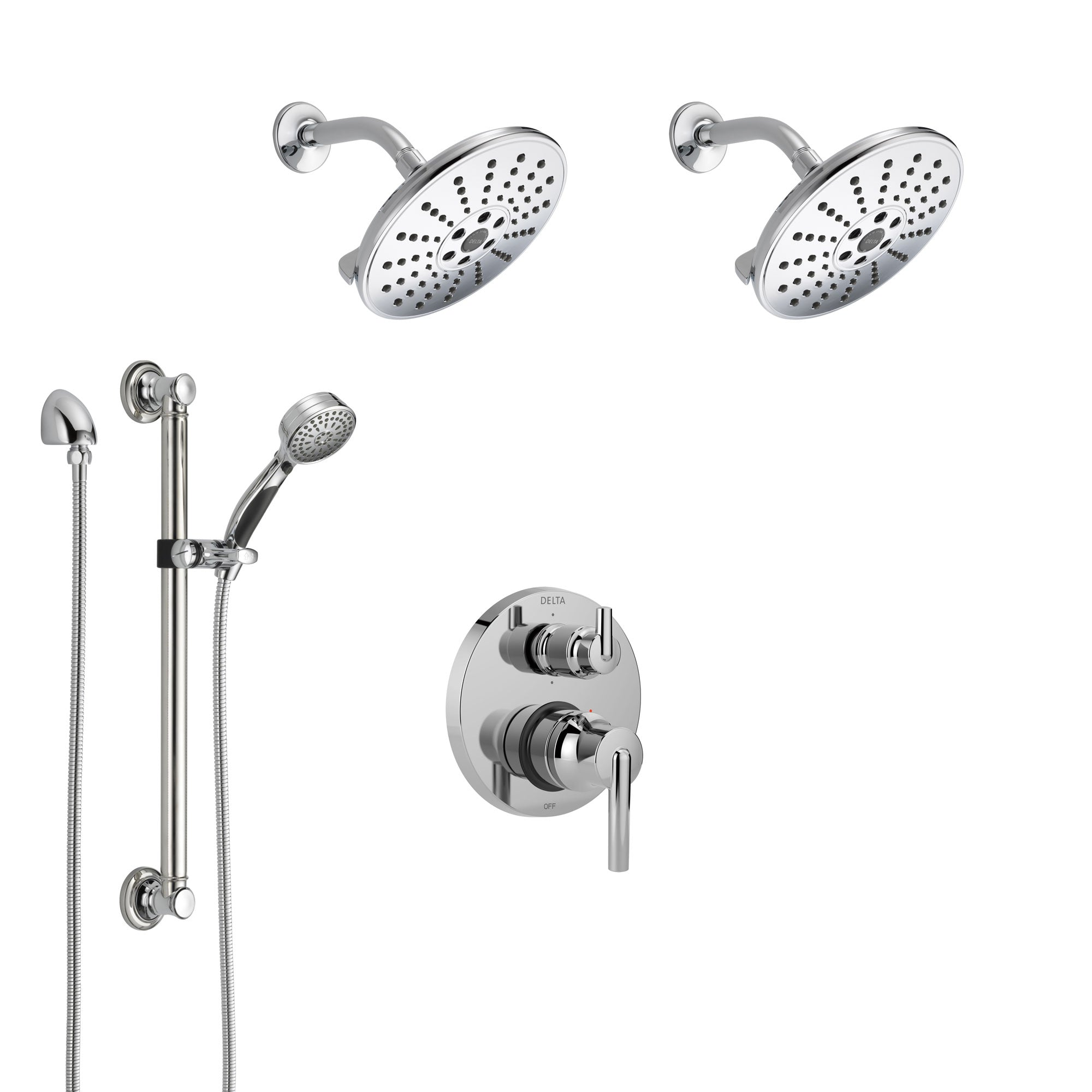 Delta Trinsic Chrome Finish Shower System with Control Handle, Integrated 6-Setting Diverter, 2 Showerheads, and Hand Shower with Grab Bar SS2495911
