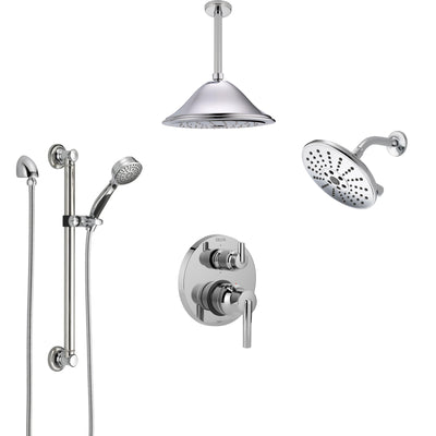 Delta Trinsic Chrome Shower System with Control Handle, Integrated Diverter, Showerhead, Ceiling Mount Showerhead, and Grab Bar Hand Shower SS2495912