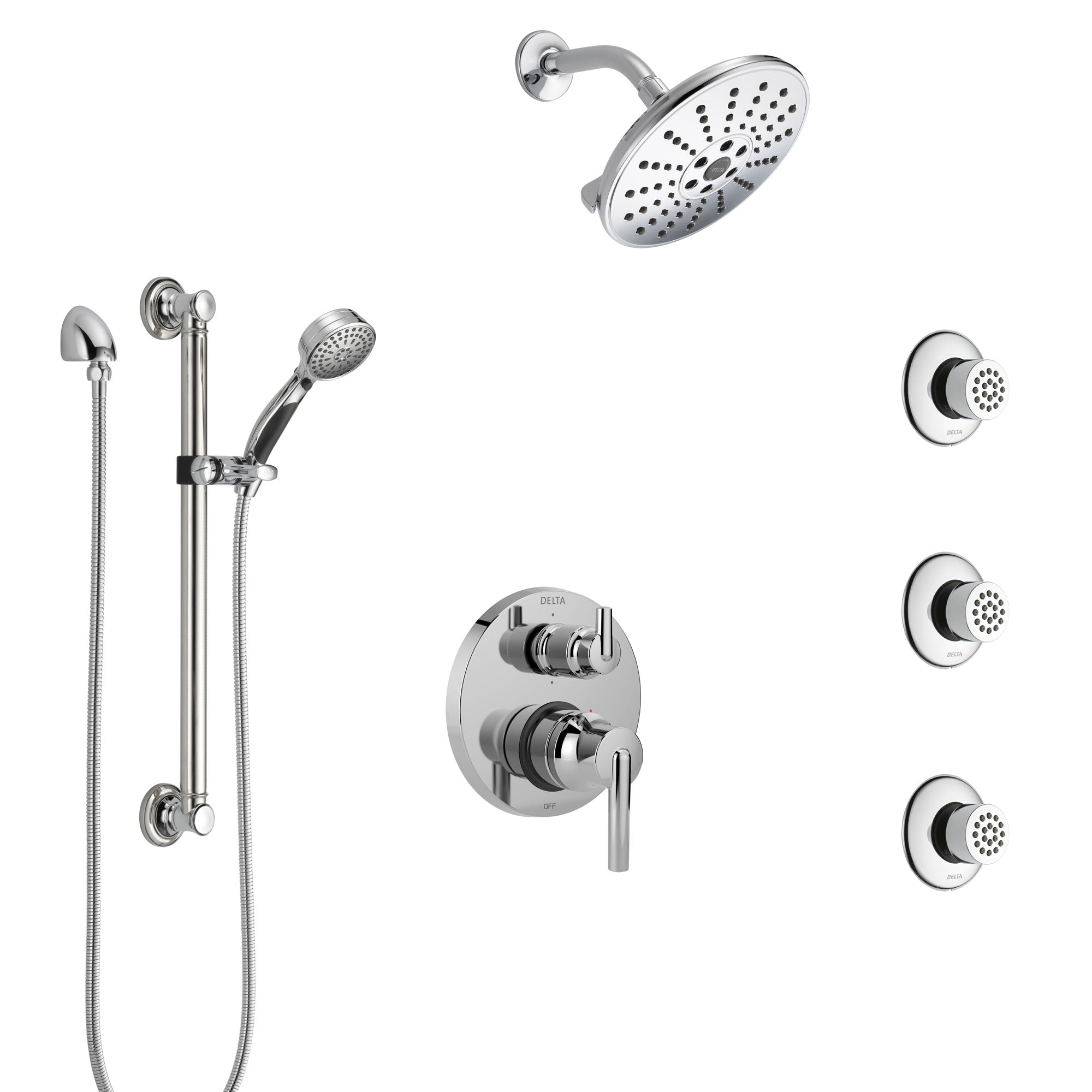 Delta Trinsic Chrome Shower System with Control Handle, Integrated Diverter, Showerhead, 3 Body Sprays, and Hand Shower with Grab Bar SS249592