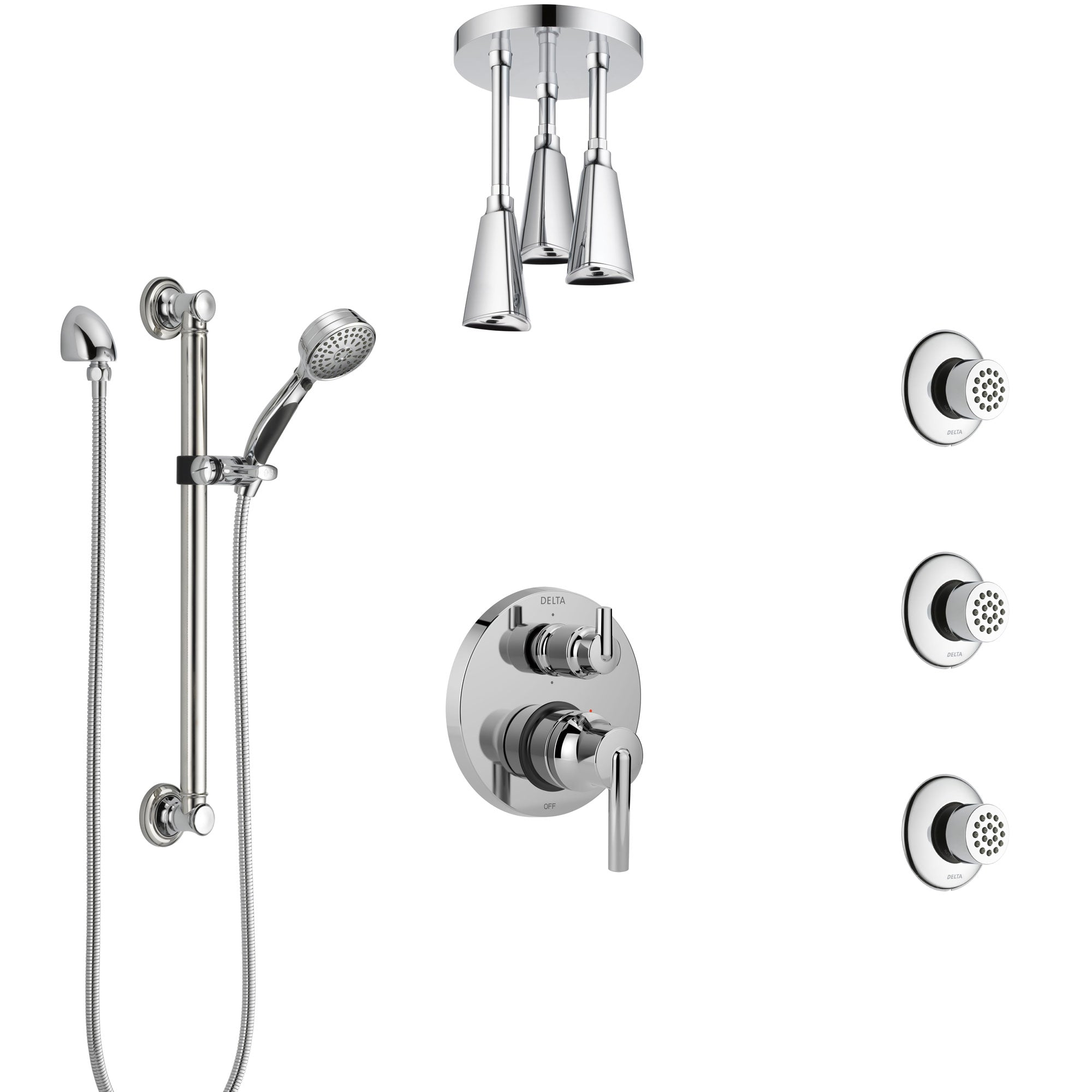 Delta Trinsic Chrome Shower System with Control Handle, Integrated Diverter, Ceiling Showerhead, 3 Body Sprays, and Grab Bar Hand Shower SS249593