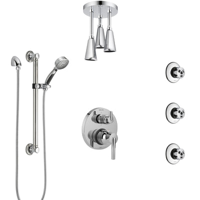 Delta Trinsic Chrome Shower System with Control Handle, Integrated Diverter, Ceiling Showerhead, 3 Body Sprays, and Grab Bar Hand Shower SS249594