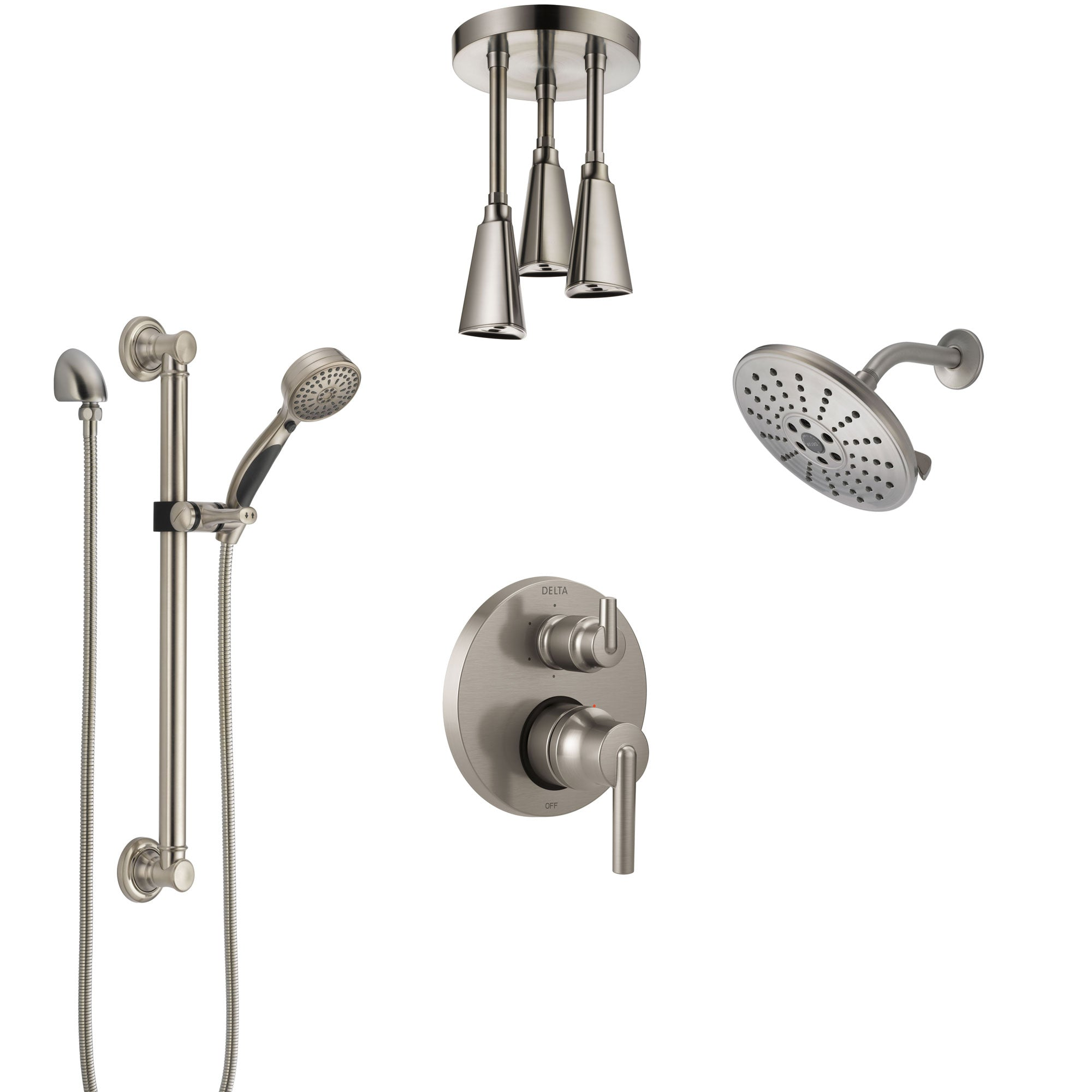 Delta Trinsic Stainless Steel Finish Integrated Diverter Shower System Control Handle, Showerhead, Ceiling Showerhead, Grab Bar Hand Spray SS24959SS2