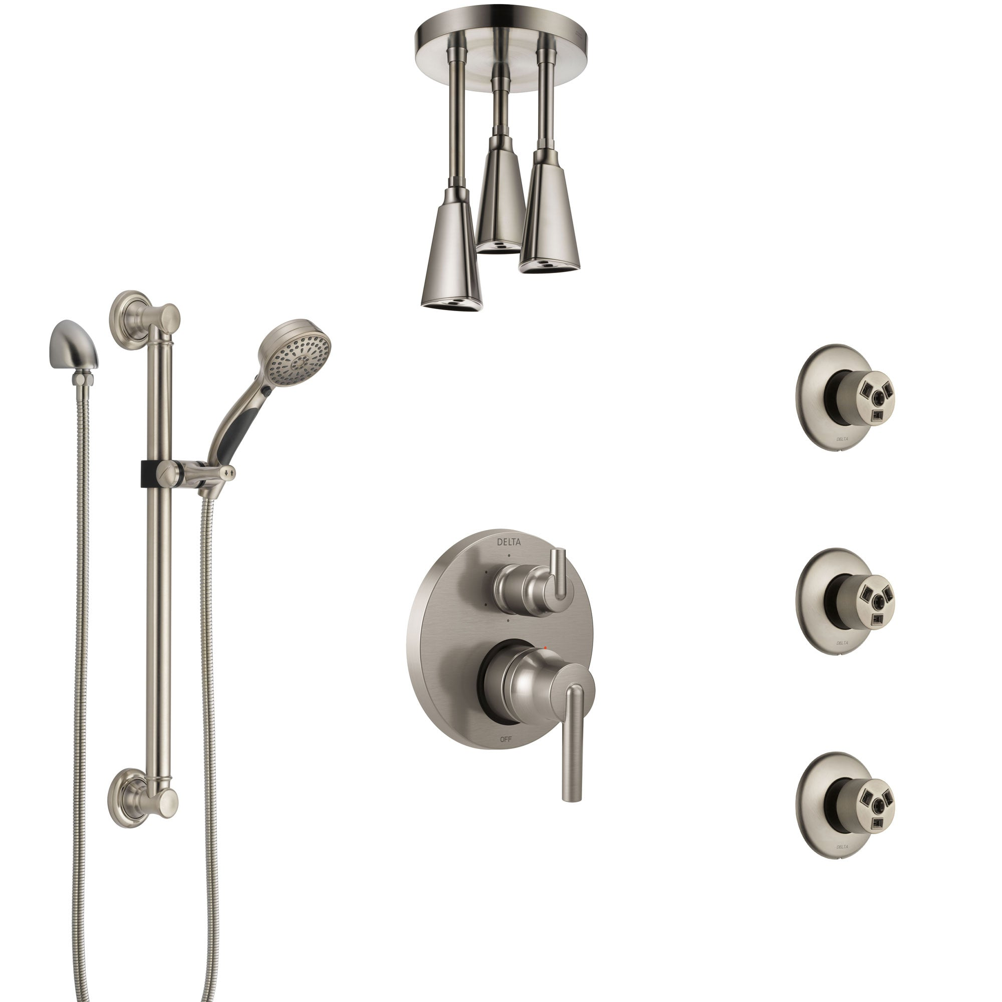 Delta Trinsic Stainless Steel Finish Integrated Diverter Shower System Control Handle, Ceiling Showerhead, 3 Body Jets, Grab Bar Hand Spray SS24959SS3