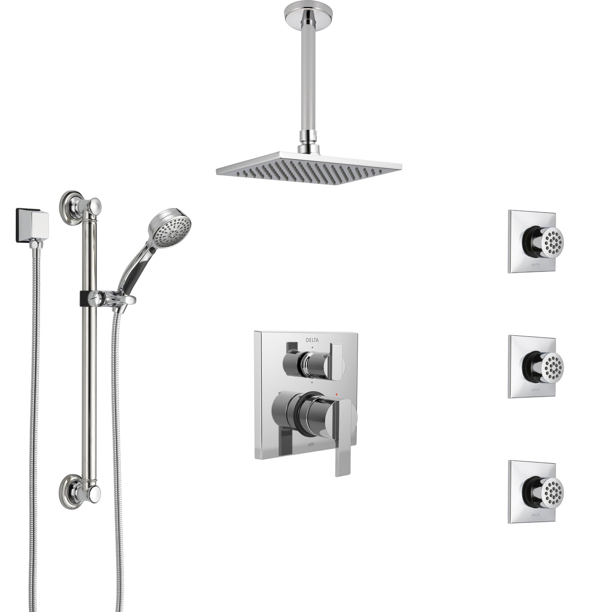 Delta Ara Chrome Shower System with Control Handle, Integrated Diverter, Ceiling Mount Showerhead, 3 Body Sprays, and Grab Bar Hand Shower SS2496710