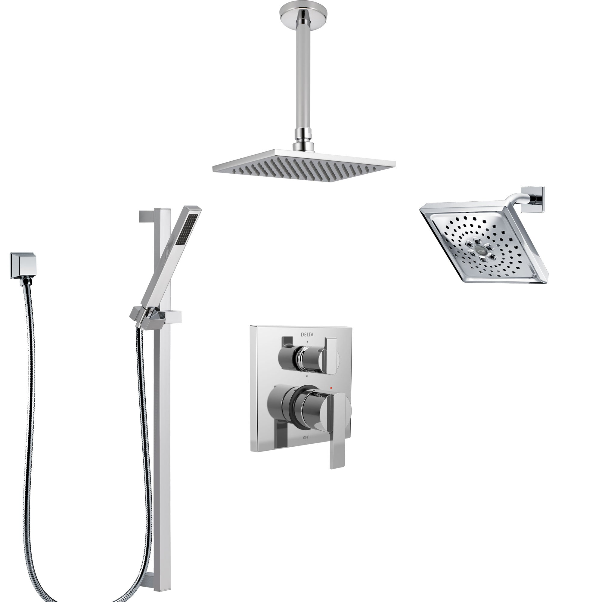 Delta Ara Chrome Shower System with Control Handle, Integrated 6-Setting Diverter, Showerhead, Ceiling Mount Showerhead, and Hand Shower SS2496712