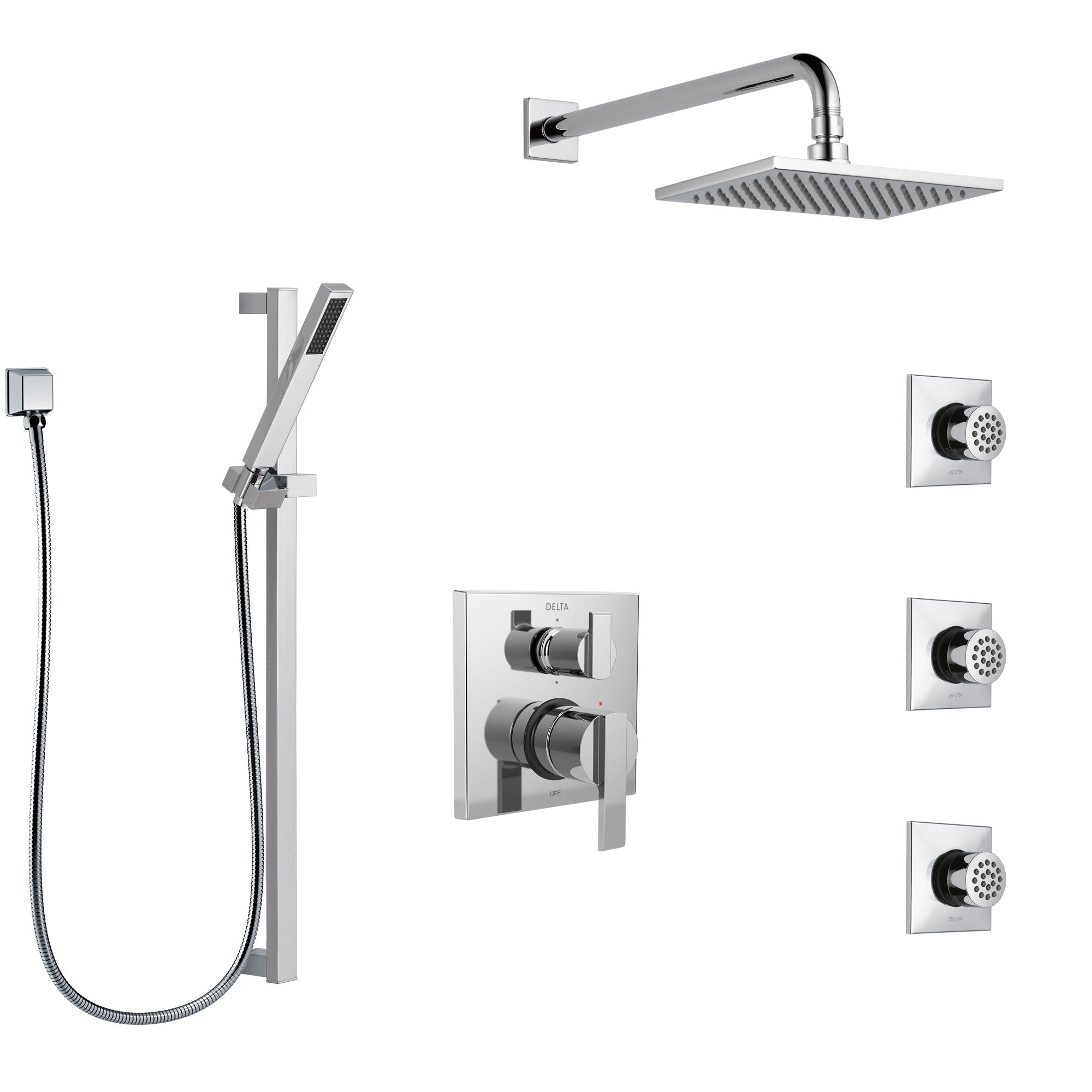 Delta Ara Chrome Finish Shower System with Control Handle, Integrated 6-Setting Diverter, Showerhead, 3 Body Sprays, and Hand Shower SS249671