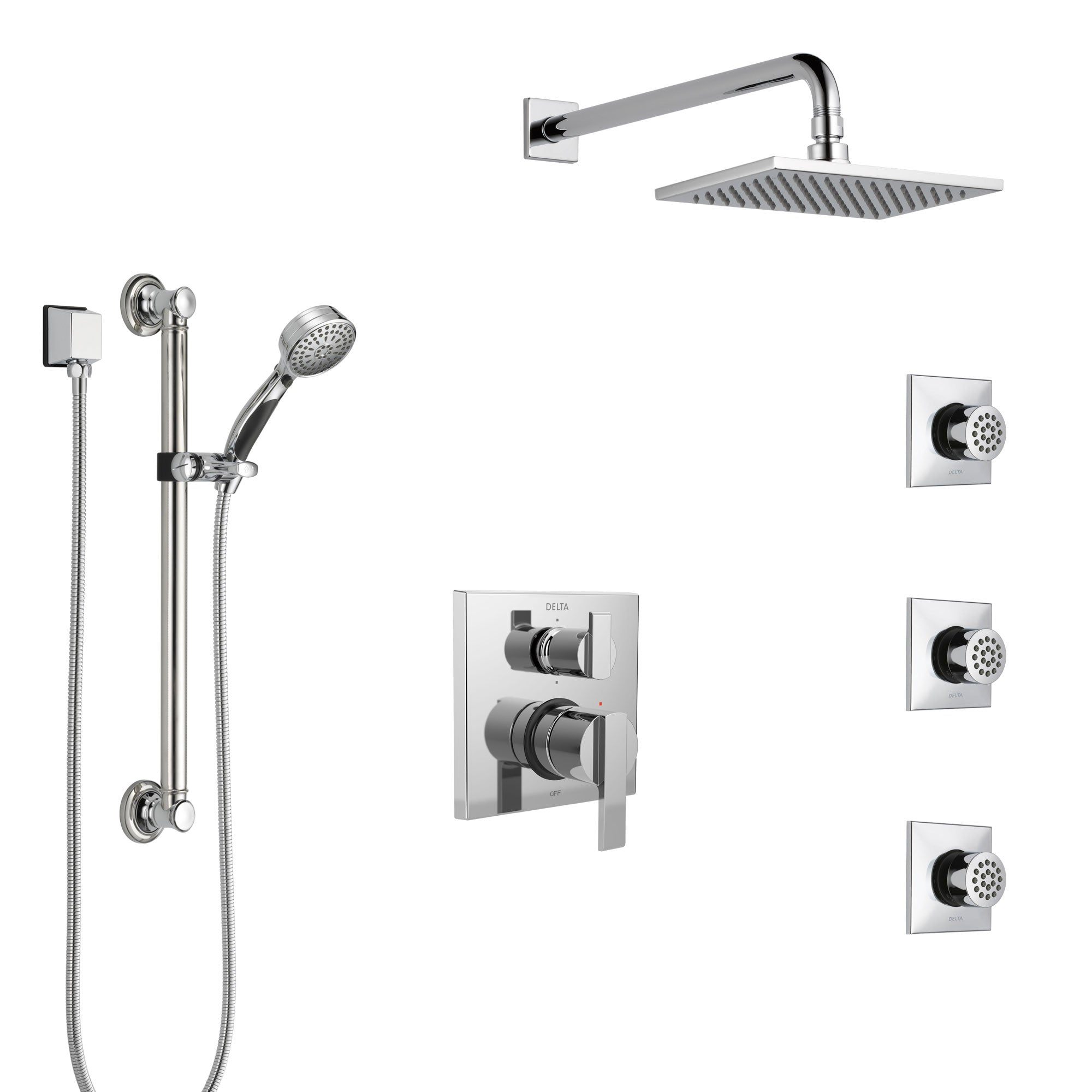 Delta Ara Chrome Shower System with Control Handle, Integrated 6-Setting Diverter, Showerhead, 3 Body Sprays, and Hand Shower with Grab Bar SS249672