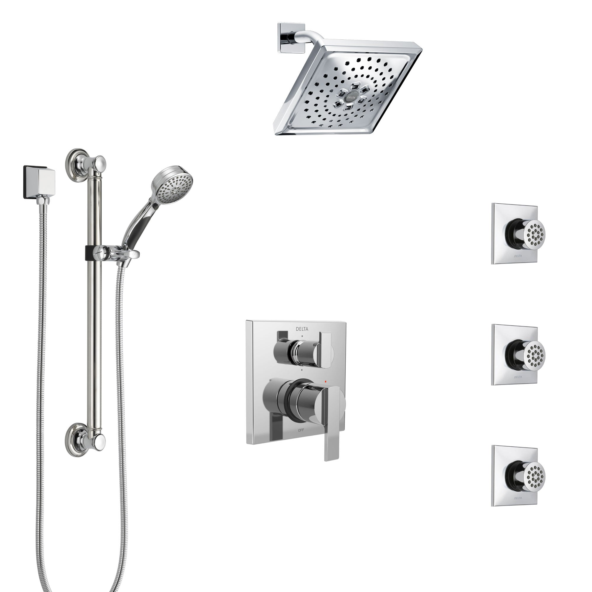 Delta Ara Chrome Shower System with Control Handle, Integrated 6-Setting Diverter, Showerhead, 3 Body Sprays, and Hand Shower with Grab Bar SS249673
