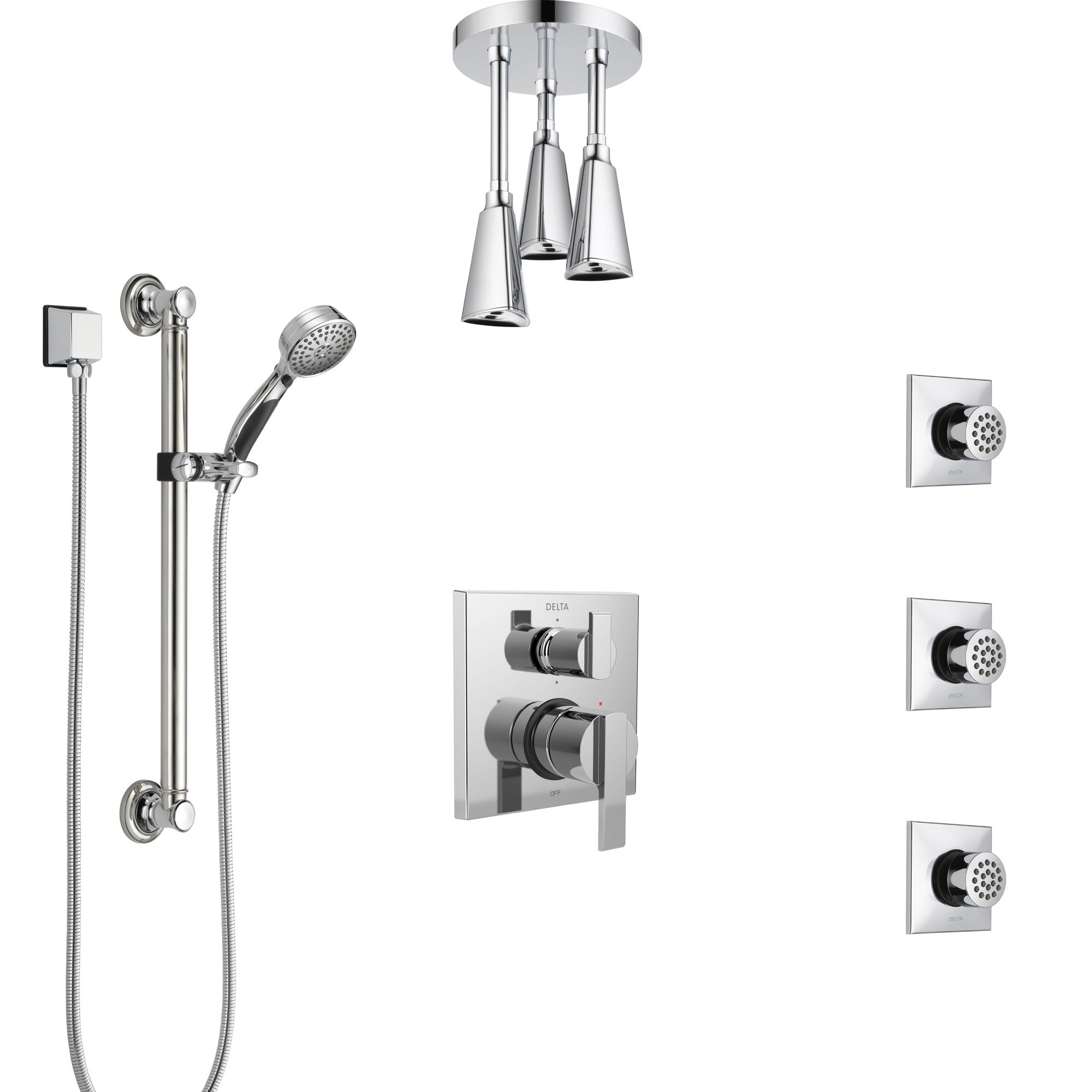 Delta Ara Chrome Shower System with Control Handle, Integrated Diverter, Ceiling Mount Showerhead, 3 Body Sprays, and Grab Bar Hand Shower SS249674
