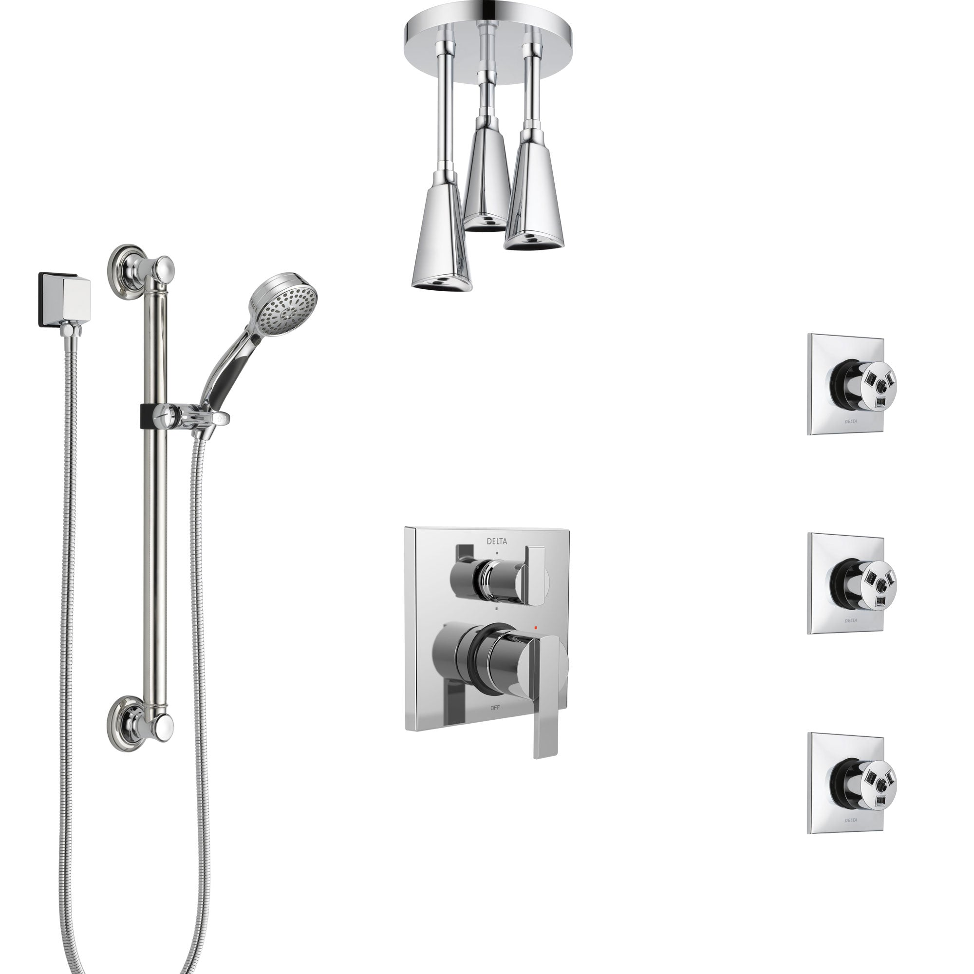 Delta Ara Chrome Shower System with Control Handle, Integrated Diverter, Ceiling Mount Showerhead, 3 Body Sprays, and Grab Bar Hand Shower SS249675
