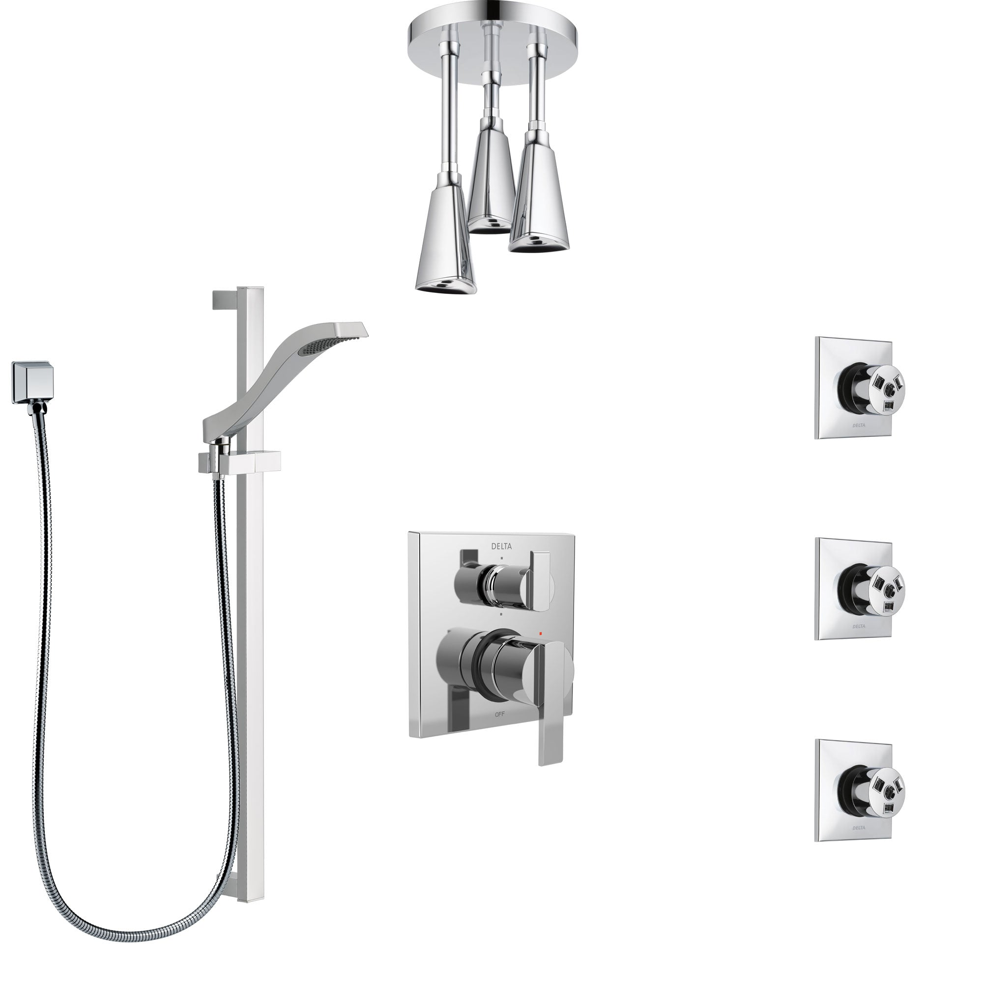 Delta Ara Chrome Shower System with Control Handle, Integrated 6-Setting Diverter, Ceiling Mount Showerhead, 3 Body Sprays, and Hand Shower SS249676