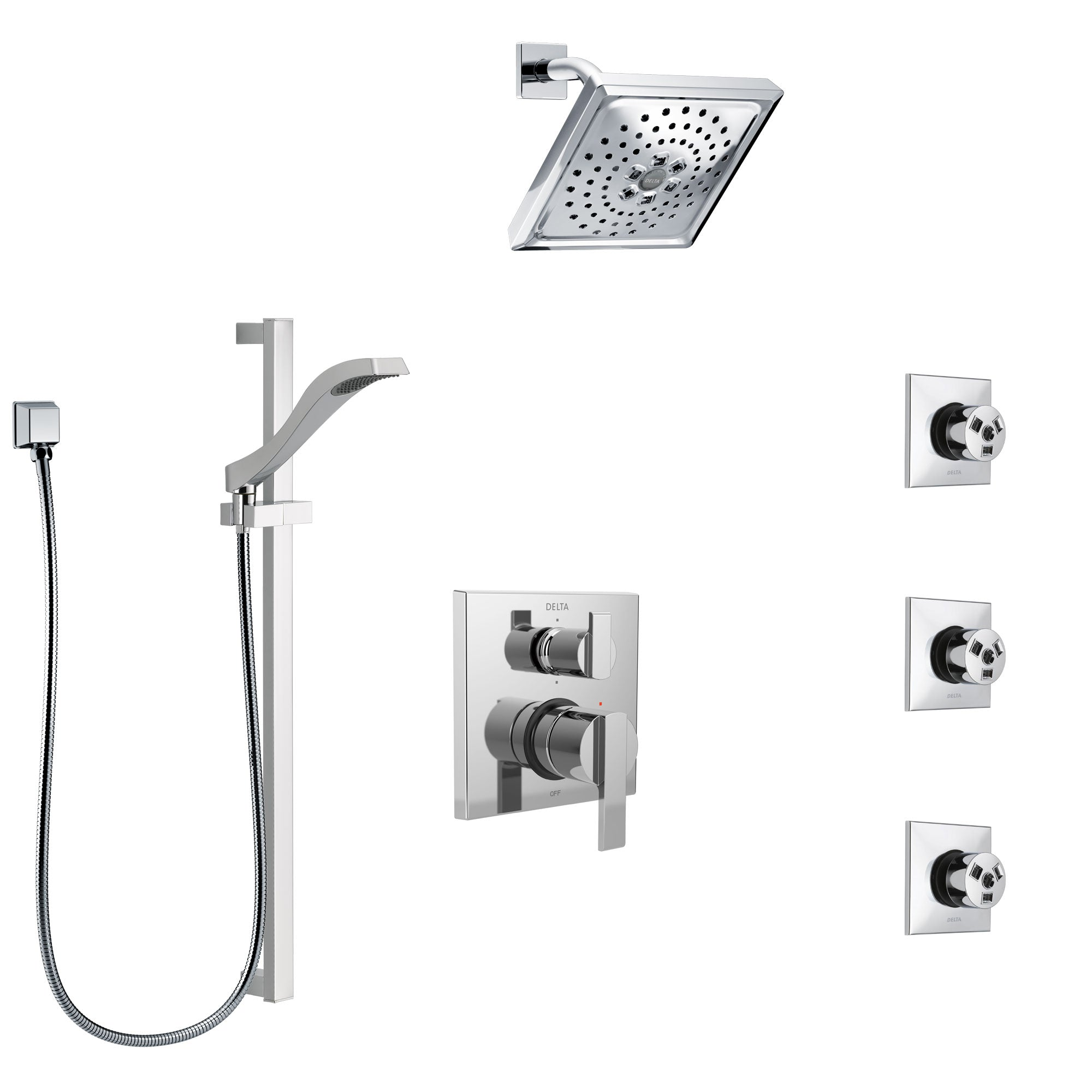 Delta Ara Chrome Finish Shower System with Control Handle, Integrated 6-Setting Diverter, Showerhead, 3 Body Sprays, and Hand Shower SS249677