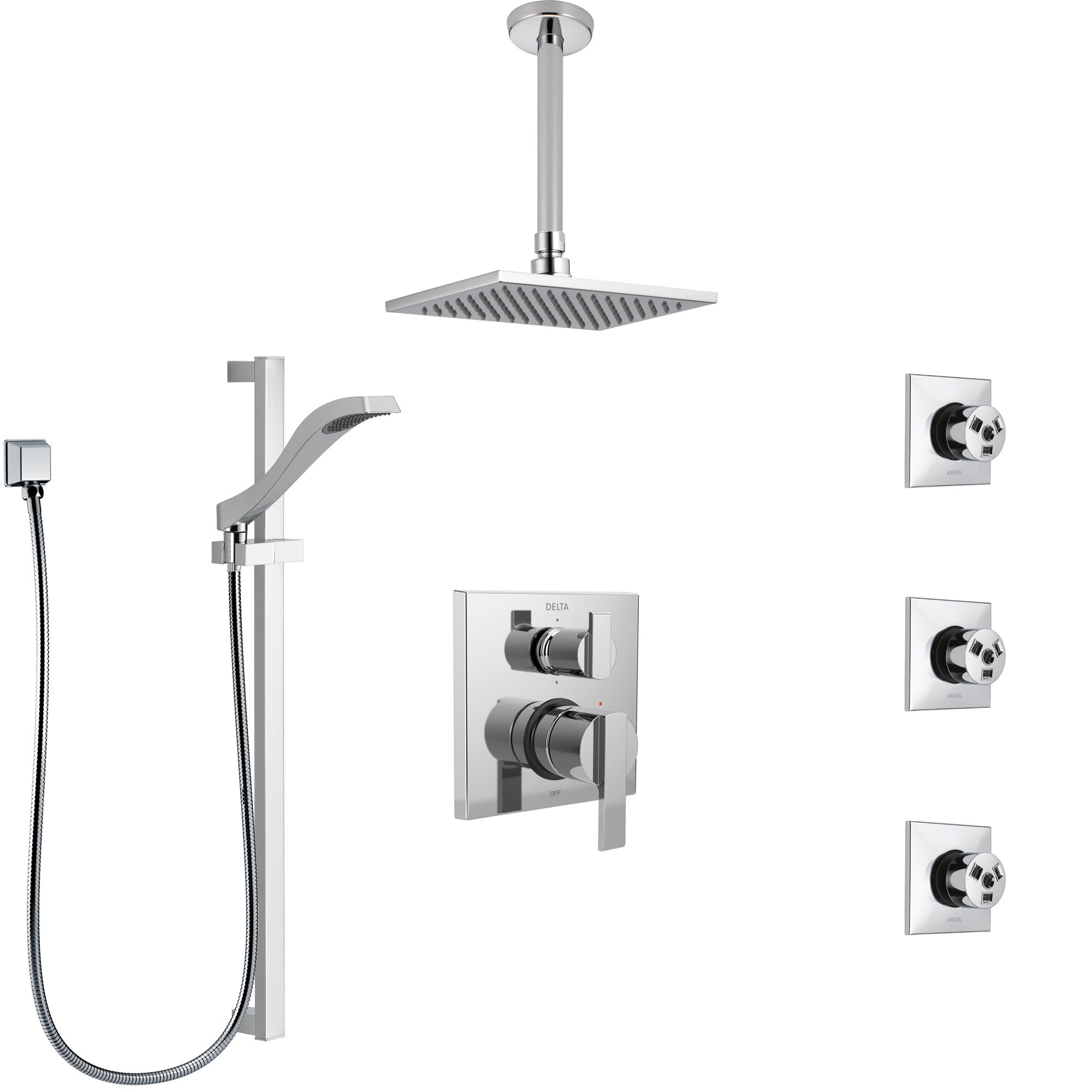 Delta Ara Chrome Shower System with Control Handle, Integrated 6-Setting Diverter, Ceiling Mount Showerhead, 3 Body Sprays, and Hand Shower SS249678