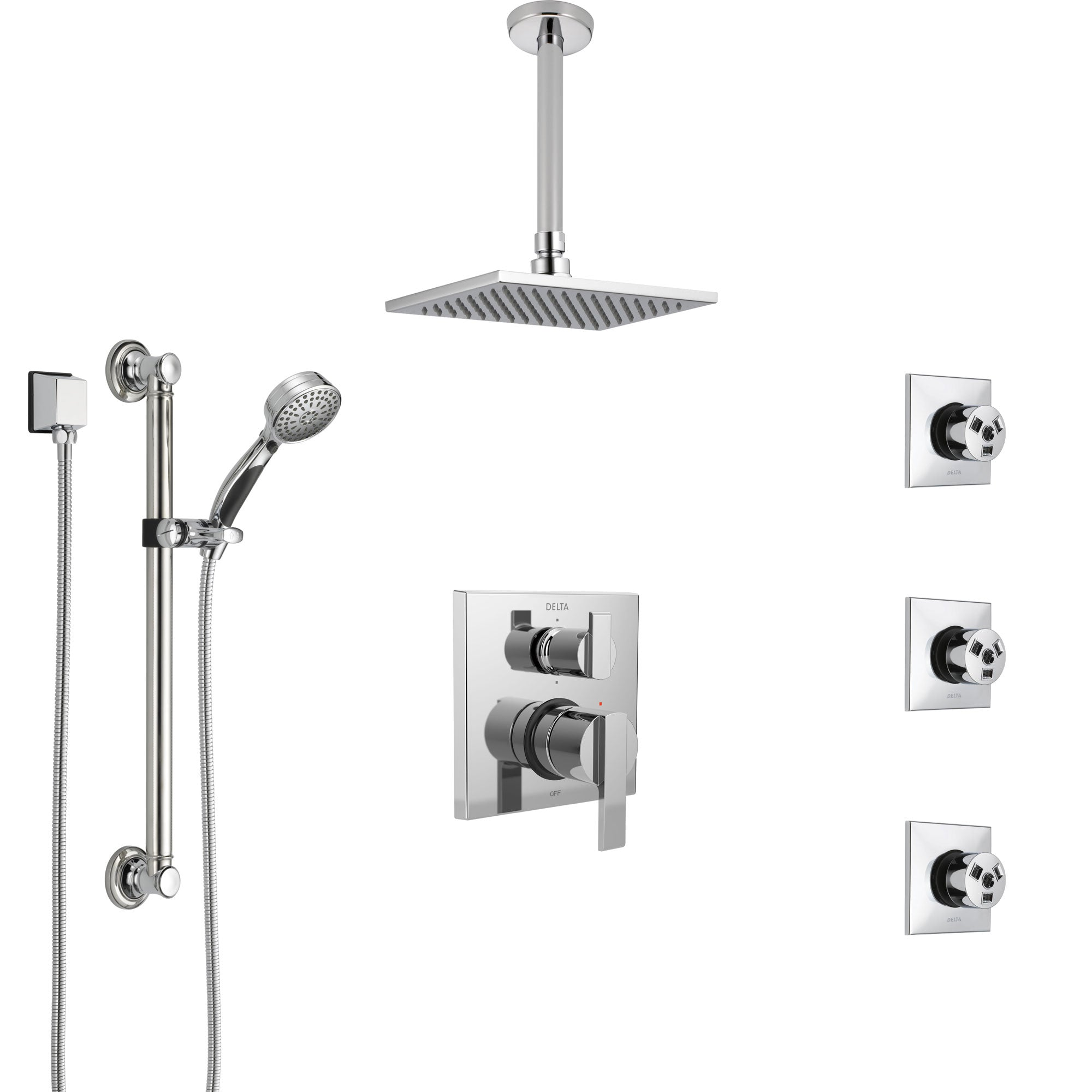 Delta Ara Chrome Shower System with Control Handle, Integrated Diverter, Ceiling Mount Showerhead, 3 Body Sprays, and Grab Bar Hand Shower SS249679