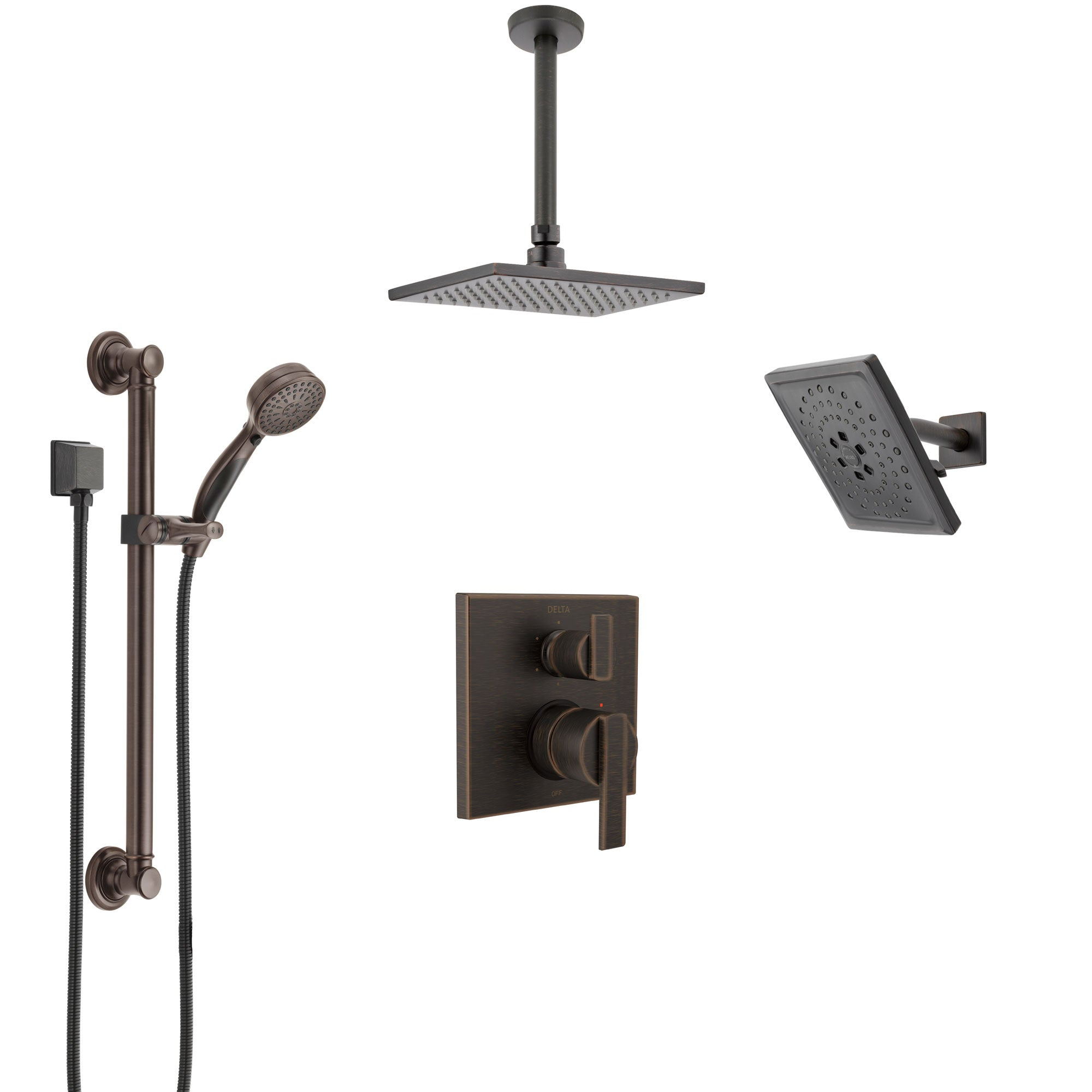 Delta Ara Venetian Bronze Shower System with Control Handle, Integrated Diverter, Showerhead, Ceiling Showerhead, and Grab Bar Hand Shower SS24967RB8