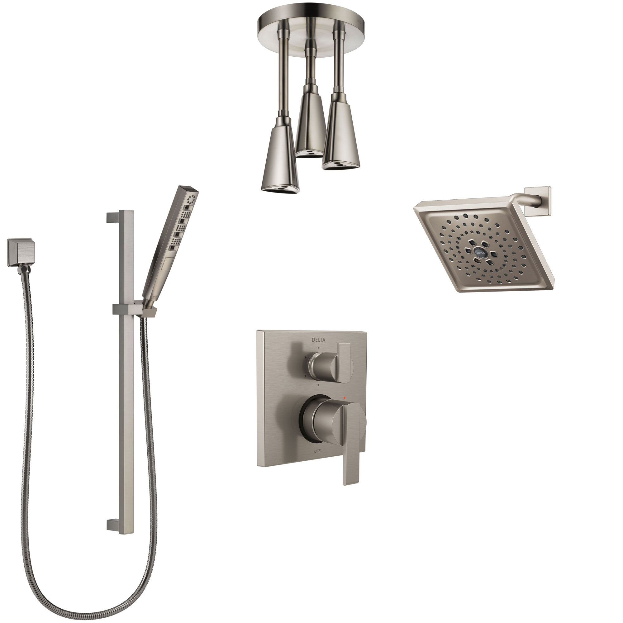 Delta Ara Stainless Steel Finish Shower System with Control Handle, Integrated Diverter, Showerhead, Ceiling Showerhead, and Hand Shower SS24967SS10