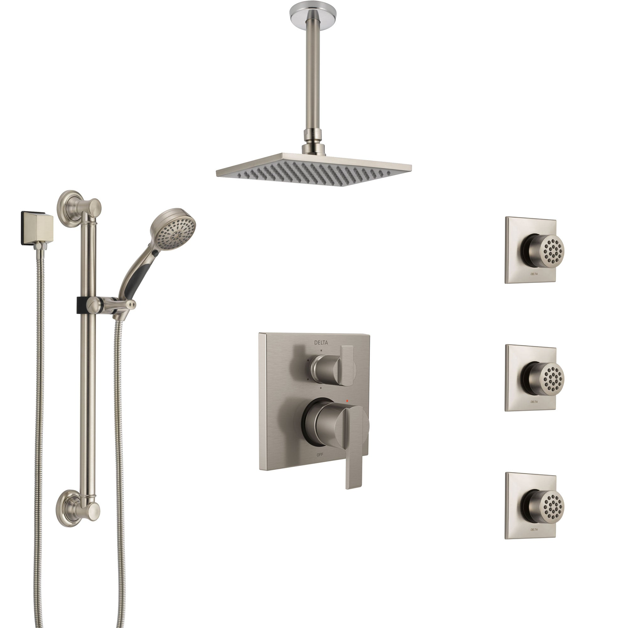 Delta Ara Stainless Steel Finish Integrated Diverter Shower System Control Handle, Ceiling Showerhead, 3 Body Sprays, Grab Bar Hand Spray SS24967SS1