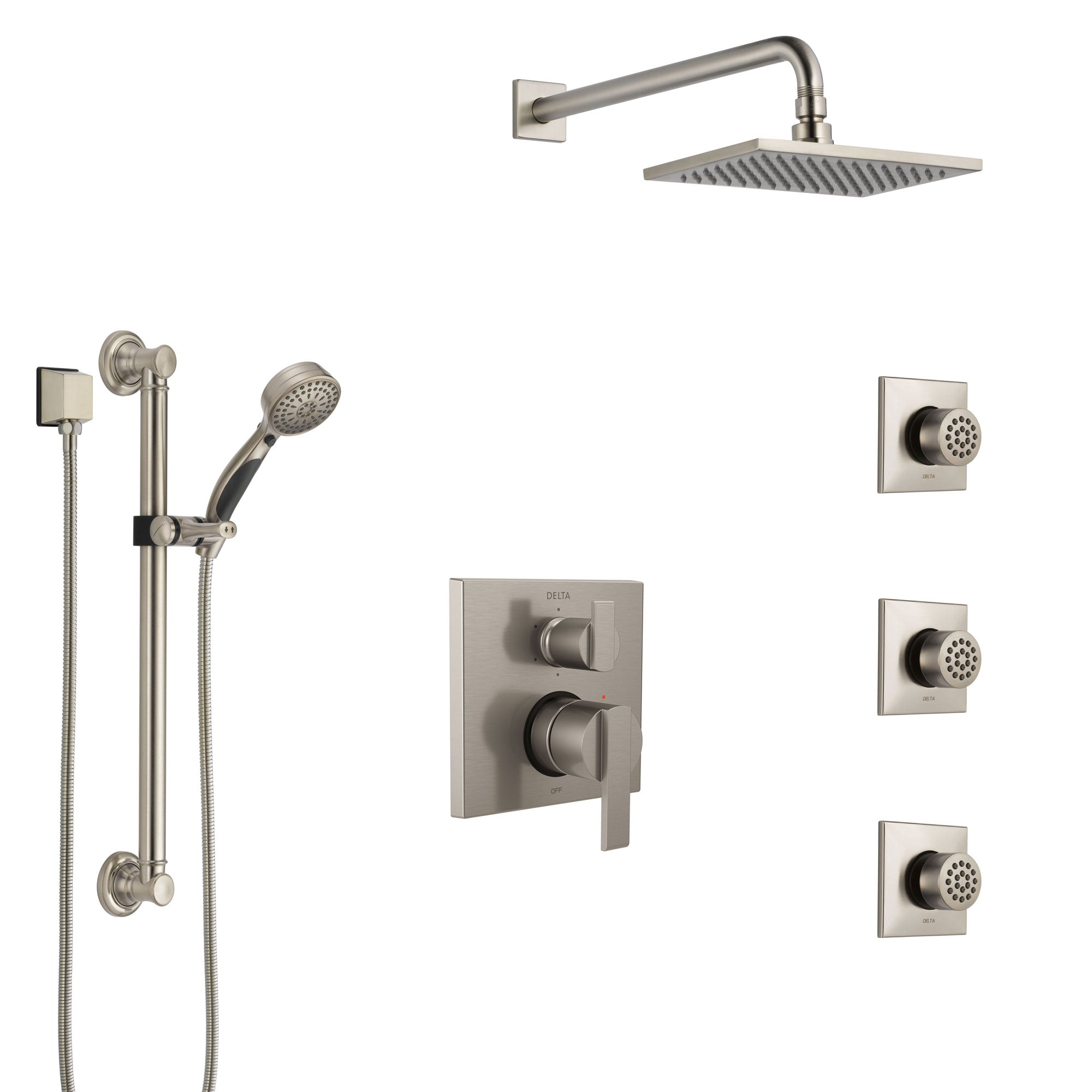 Delta Ara Stainless Steel Finish Integrated Diverter Shower System Control Handle, Showerhead, 3 Body Sprays, and Grab Bar Hand Shower SS24967SS4