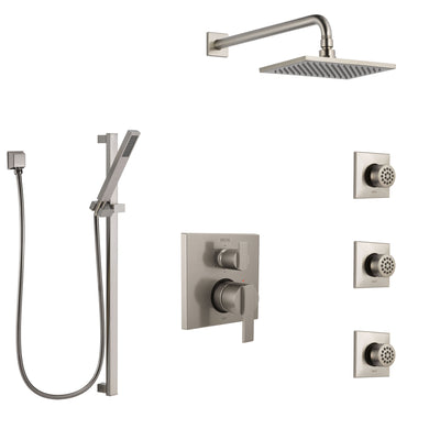 Delta Ara Stainless Steel Finish Shower System with Control Handle, Integrated Diverter, Showerhead, 3 Body Sprays, and Hand Shower SS24967SS5