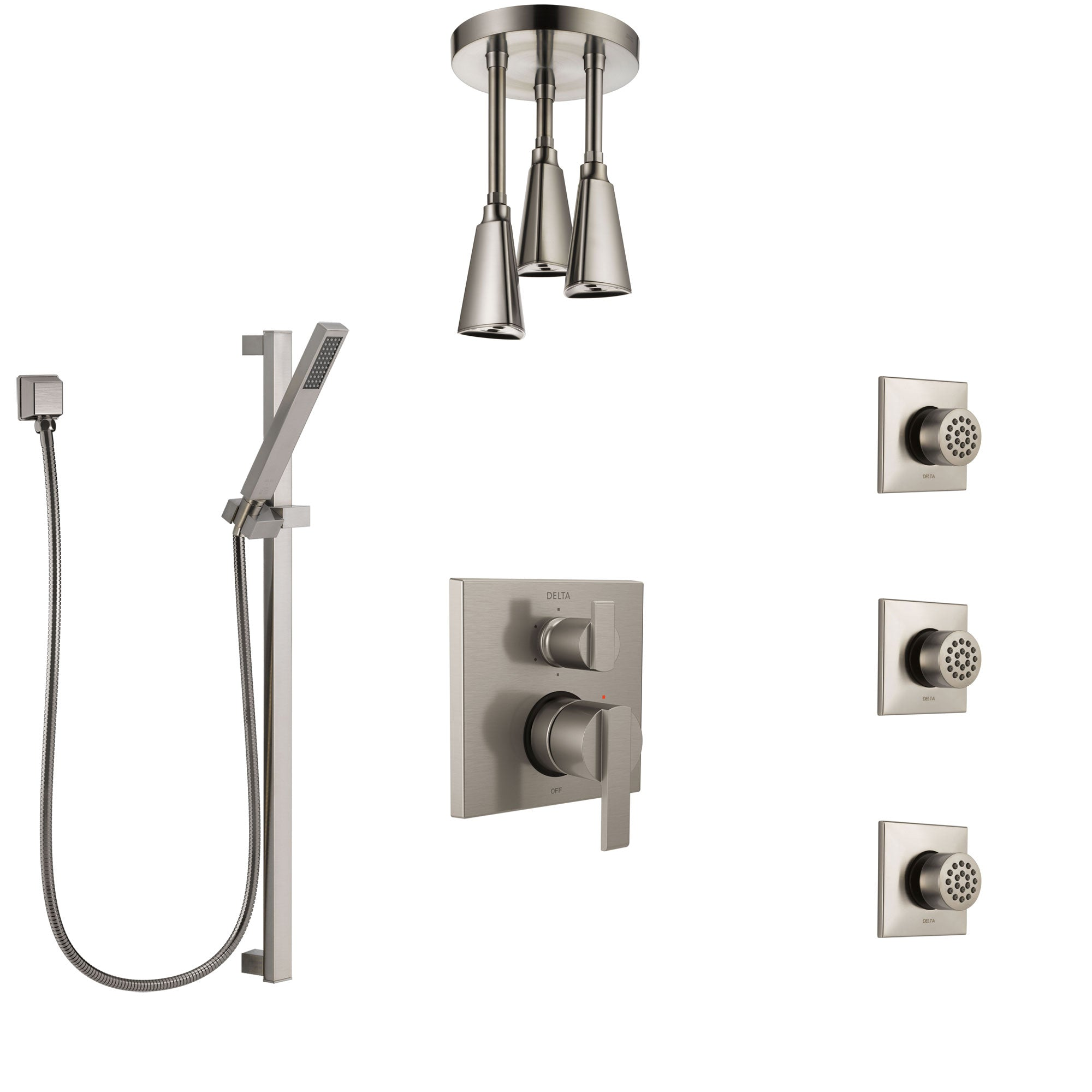 Delta Ara Stainless Steel Finish Shower System with Control Handle, Integrated Diverter, Ceiling Showerhead, 3 Body Sprays, and Hand Shower SS24967SS7