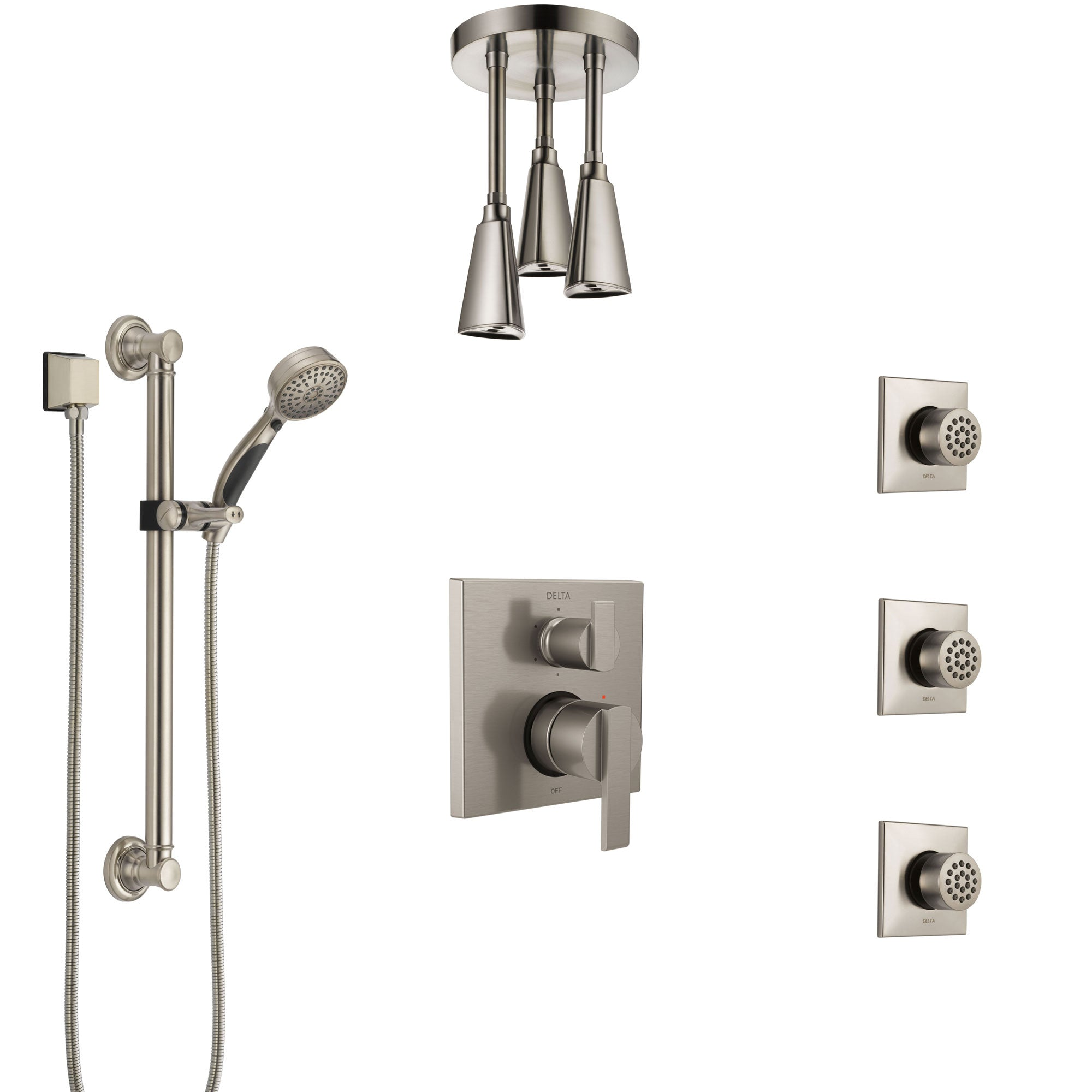 Delta Ara Stainless Steel Finish Integrated Diverter Shower System Control Handle, Ceiling Showerhead, 3 Body Sprays, Grab Bar Hand Spray SS24967SS8