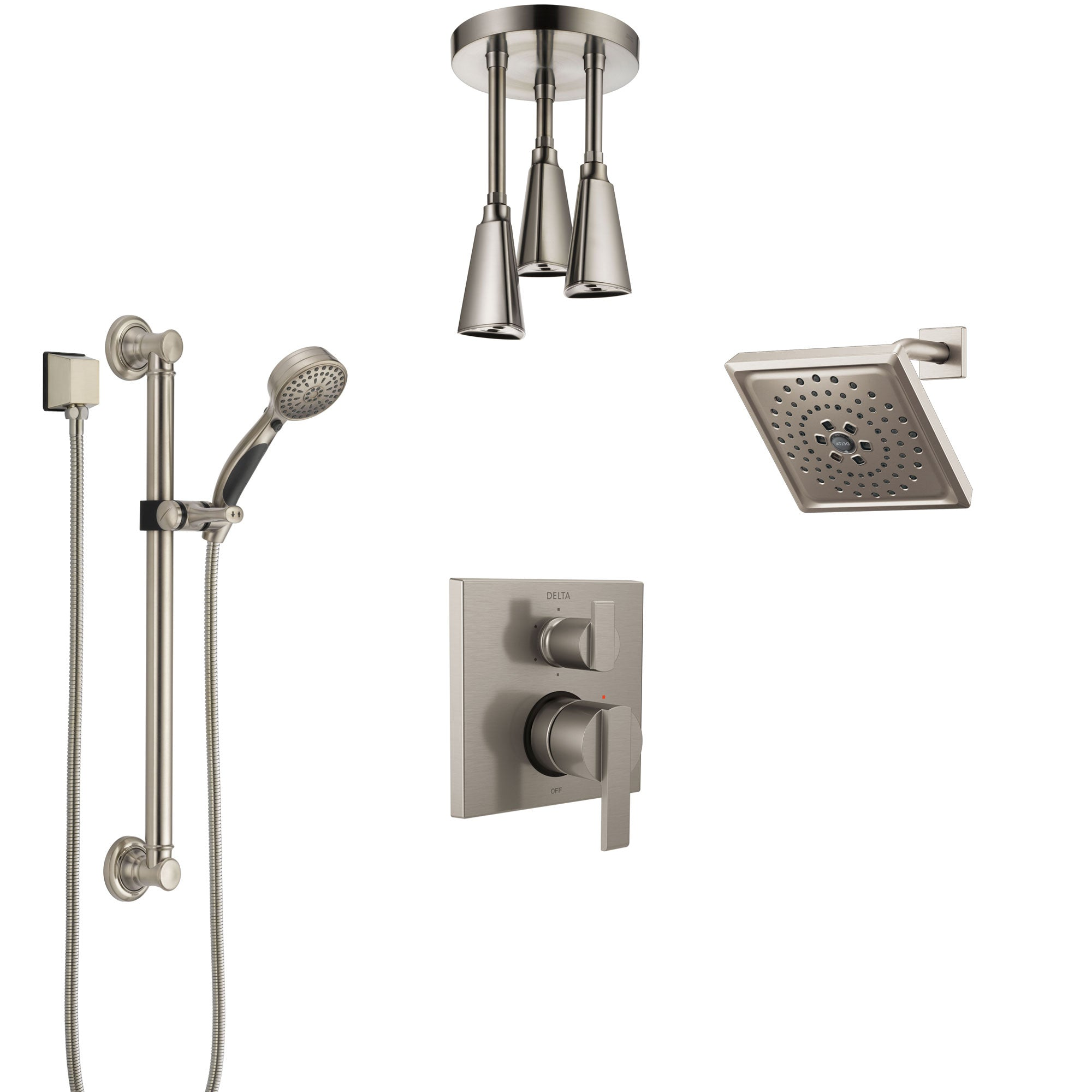 Delta Ara Stainless Steel Finish Integrated Diverter Shower System Control Handle, Showerhead, Ceiling Showerhead, and Grab Bar Hand Shower SS24967SS9