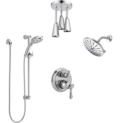 Delta Cassidy Chrome Shower System with Control Handle, Integrated Diverter, Showerhead, Ceiling Mount Showerhead, and Temp2O Hand Shower SS2499710