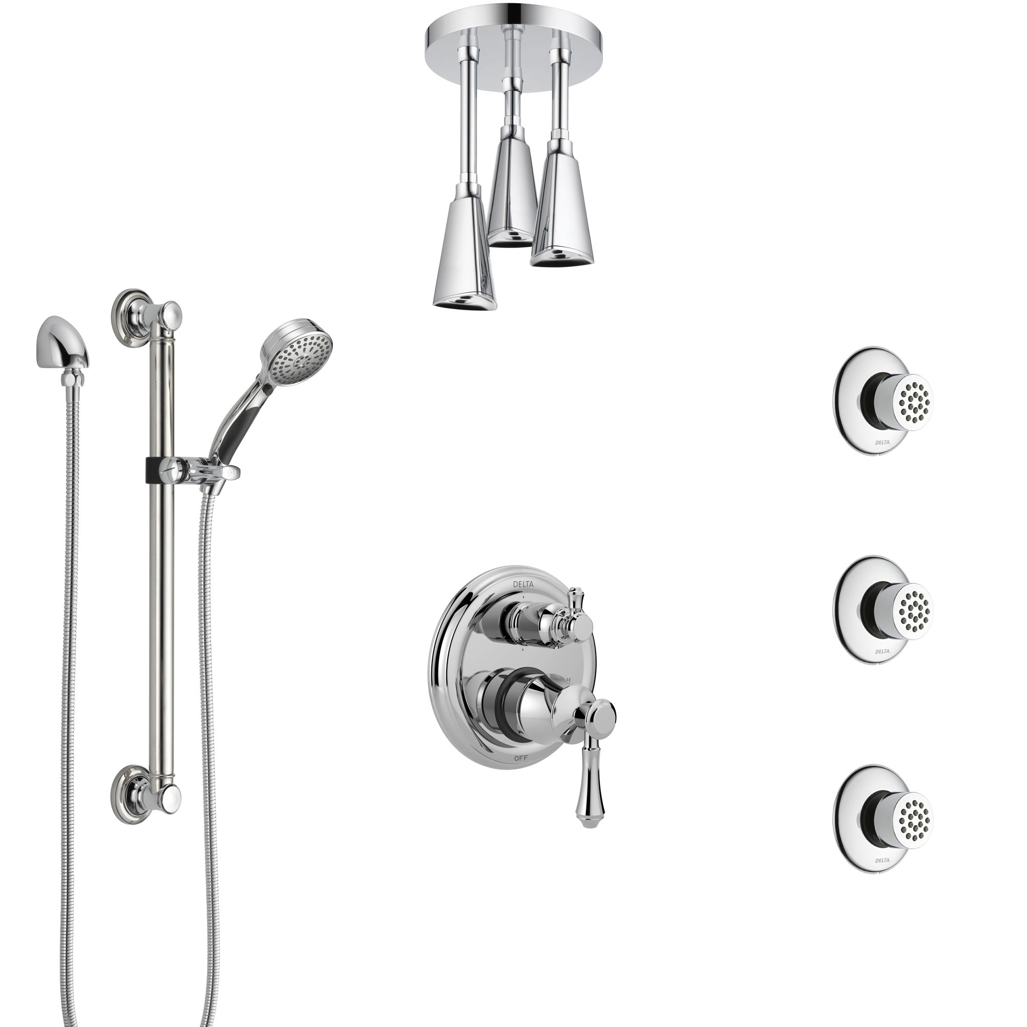 Delta Cassidy Chrome Shower System with Control Handle, Integrated Diverter, Ceiling Showerhead, 3 Body Sprays, and Grab Bar Hand Shower SS2499712