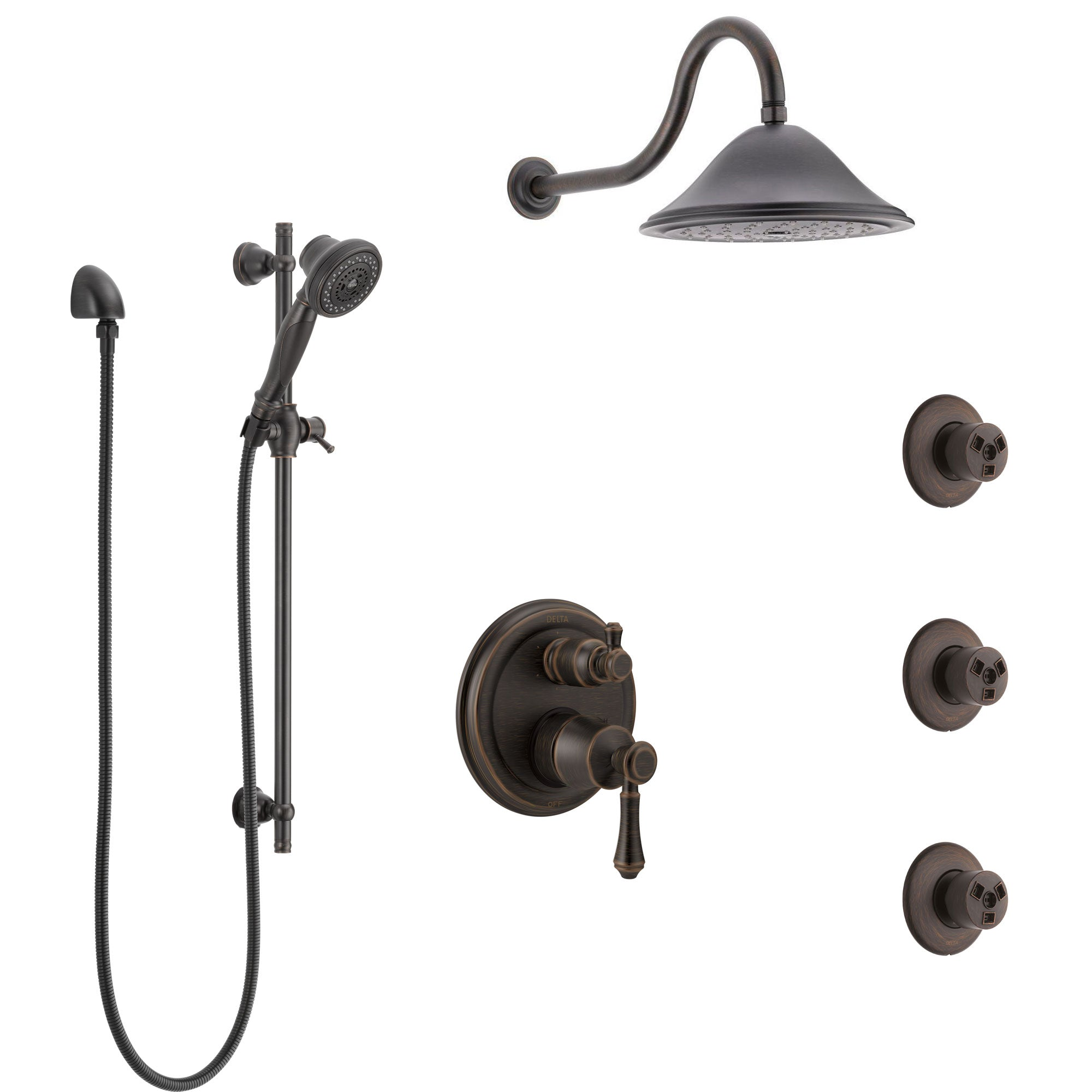 Delta Cassidy Venetian Bronze Shower System with Control Handle, Integrated 6-Setting Diverter, Showerhead, 3 Body Sprays, and Hand Shower SS24997RB1