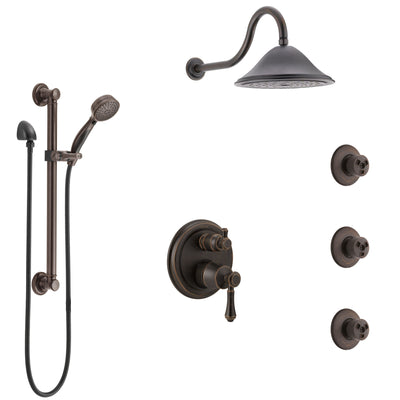 Delta Cassidy Venetian Bronze Shower System with Control Handle, Integrated Diverter, Showerhead, 3 Body Sprays, and Grab Bar Hand Shower SS24997RB2