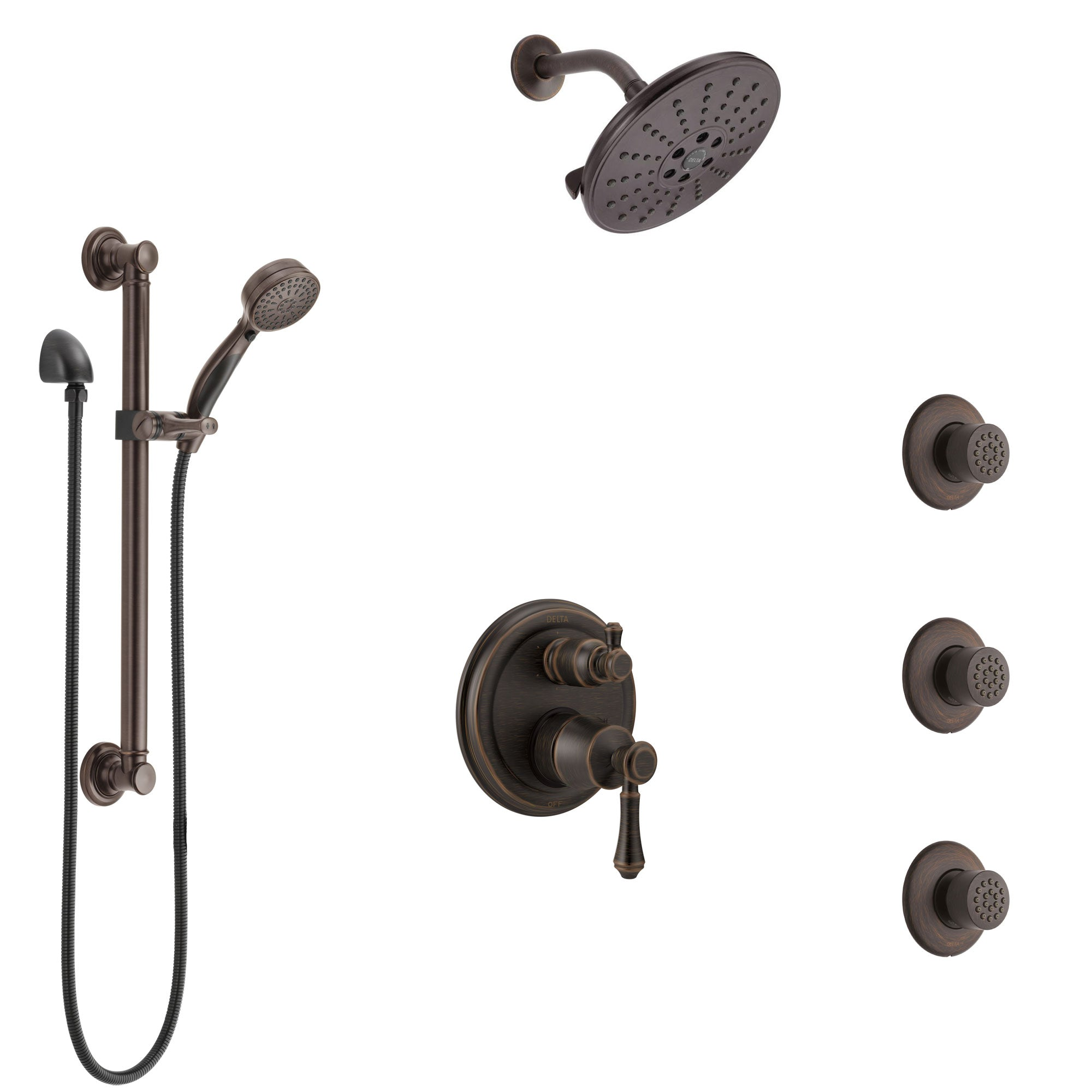 Delta Cassidy Venetian Bronze Shower System with Control Handle, Integrated Diverter, Showerhead, 3 Body Sprays, and Grab Bar Hand Shower SS24997RB7